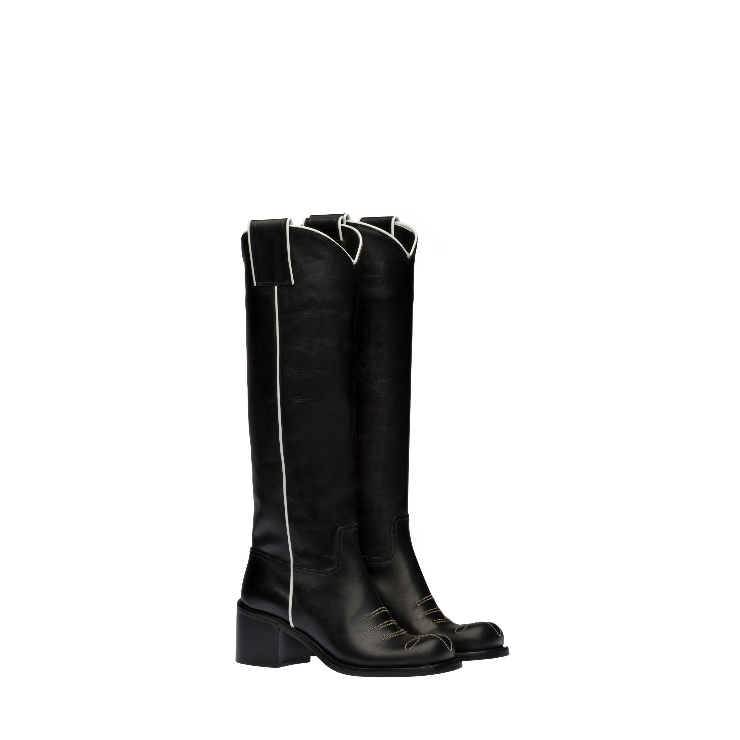 Leather Boots Women Black/white