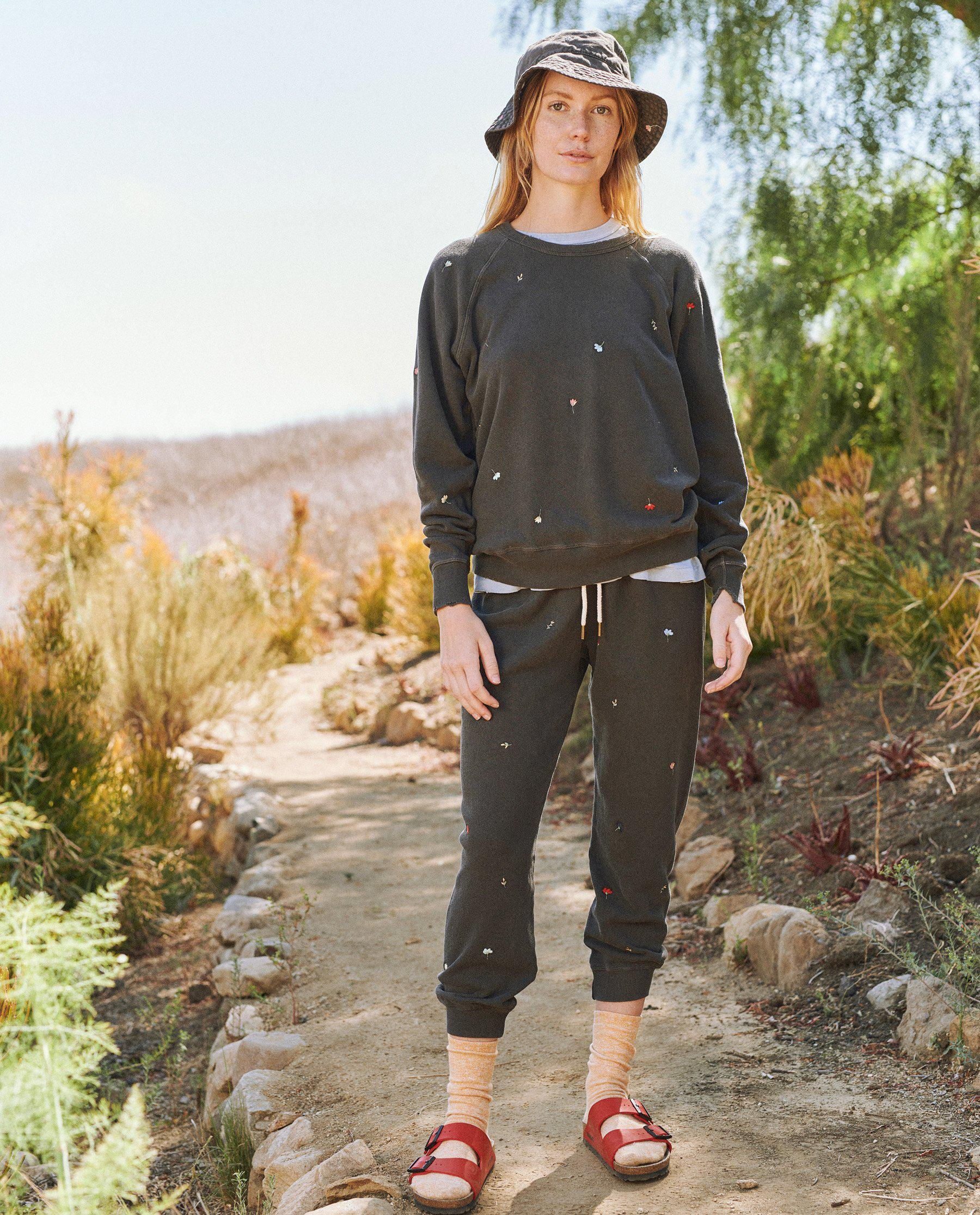 The Cropped Sweatpant. Embroidered -- Washed Black with Tossed Floral Embroidery