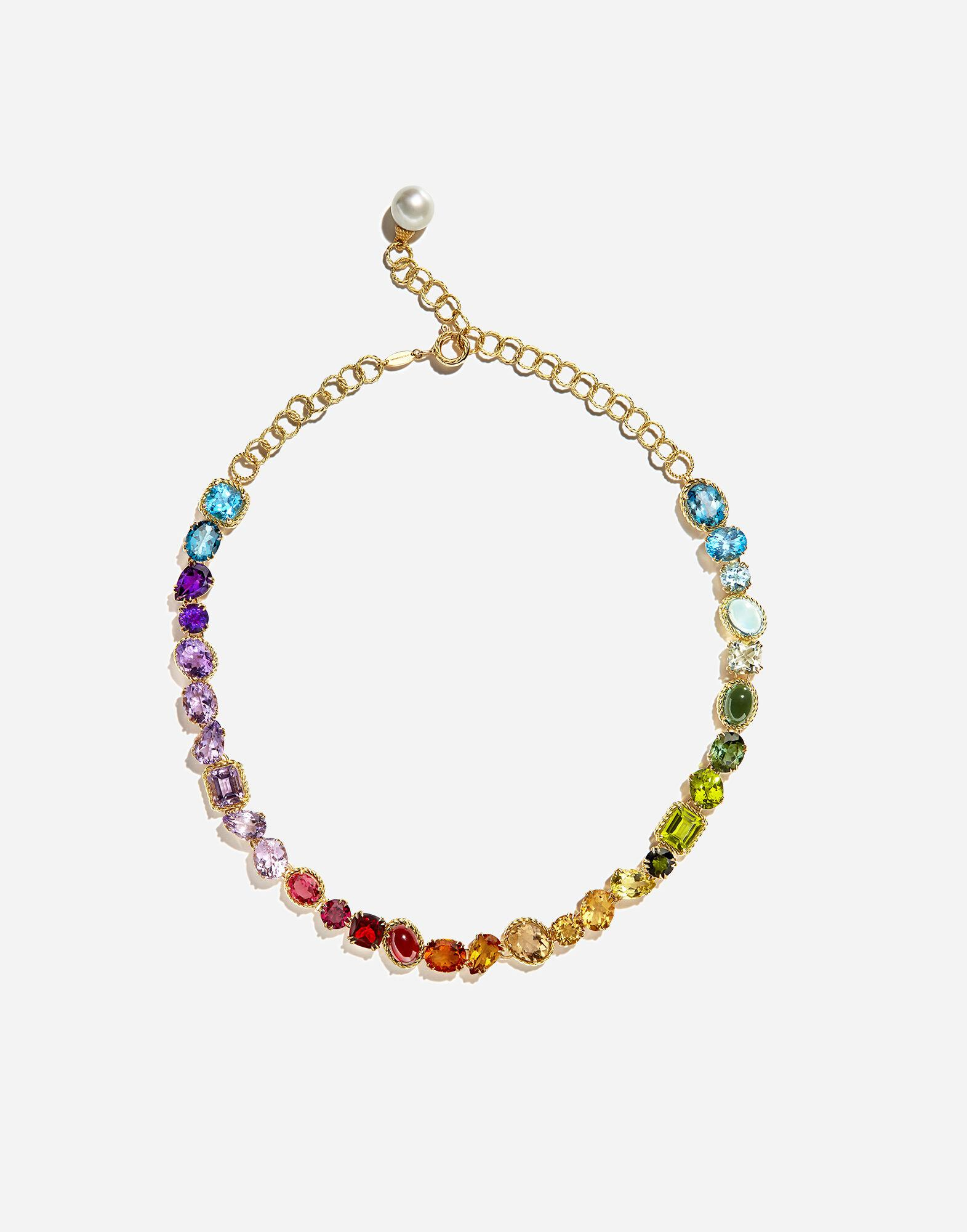 Necklace with multi-colored gems