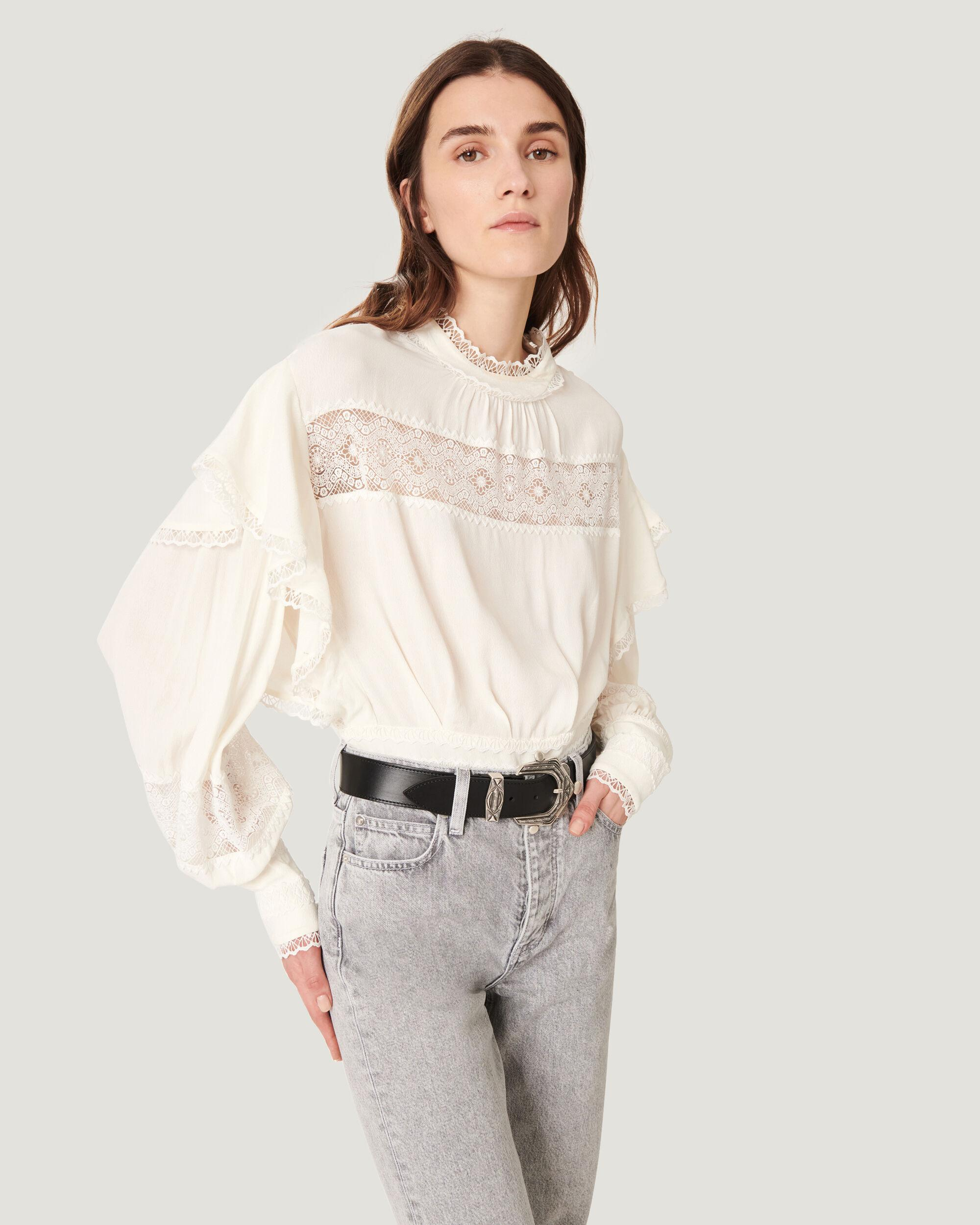CLAW RUFFLE LACE BLOUSE TOP