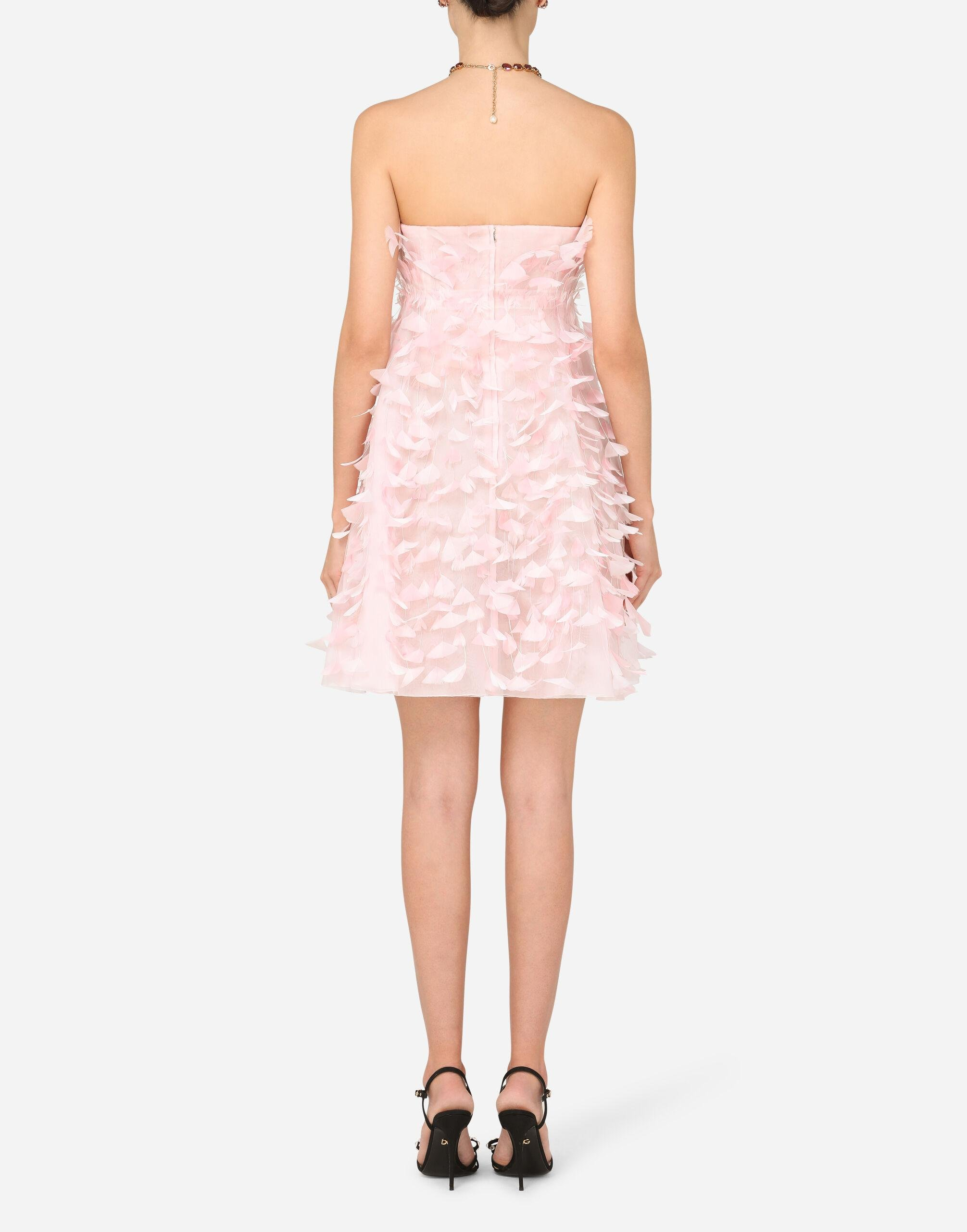 Short organza dress with feather embellishment 1