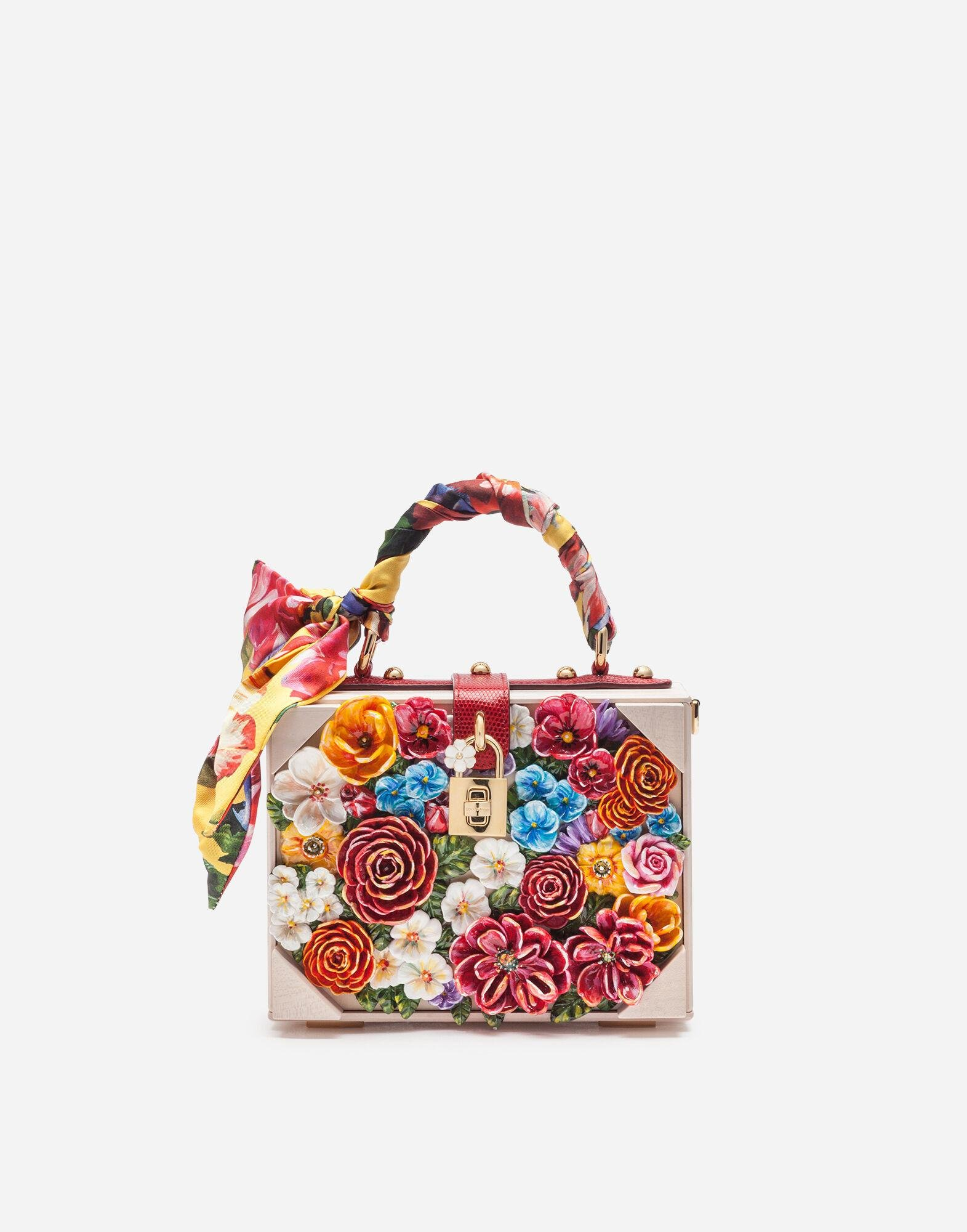 Dolce Box bag in resin with embroidered flowers