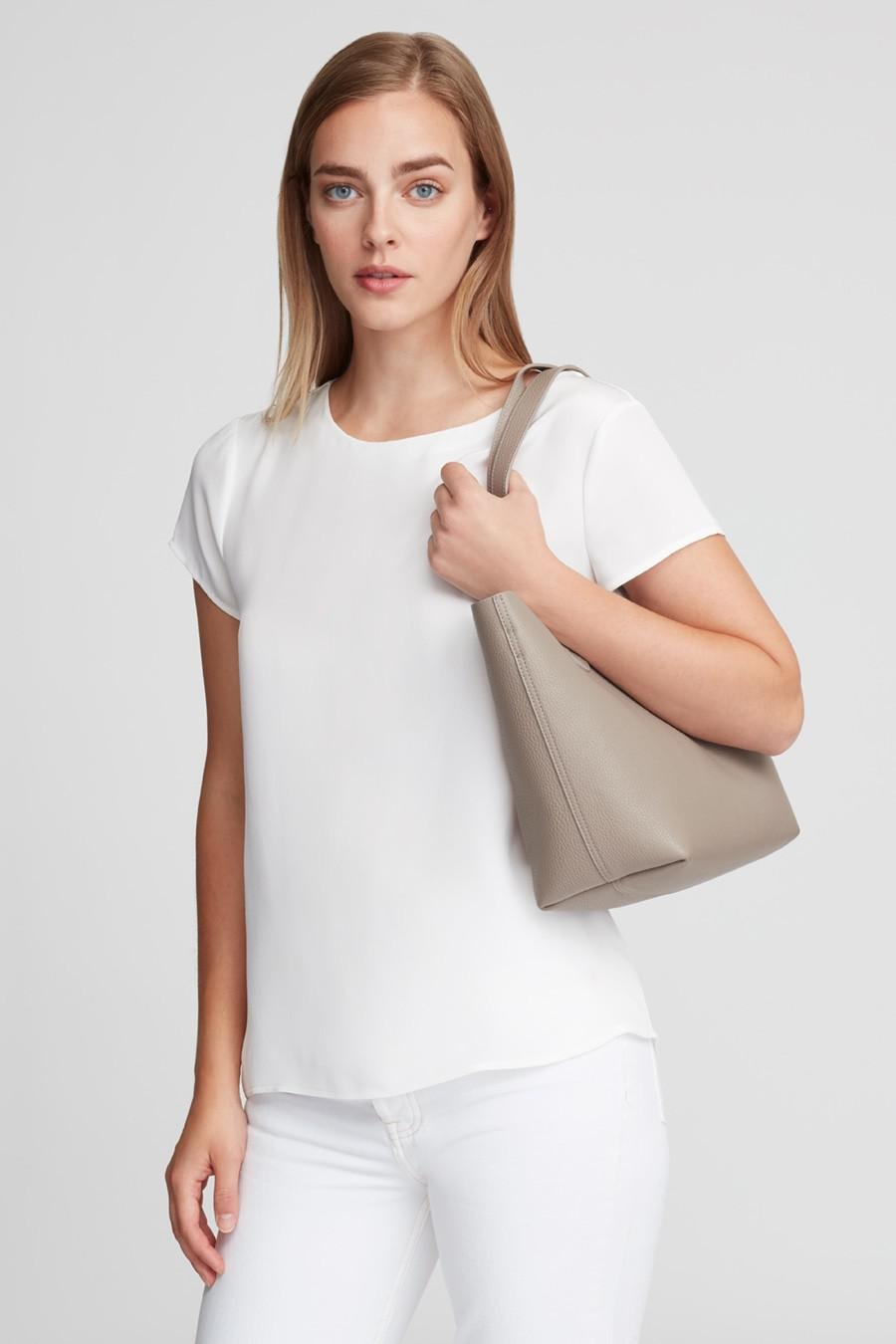 Women's Small Structured Leather Tote Bag in Stone/Blush Pink   Pebbled Leather by Cuyana 6