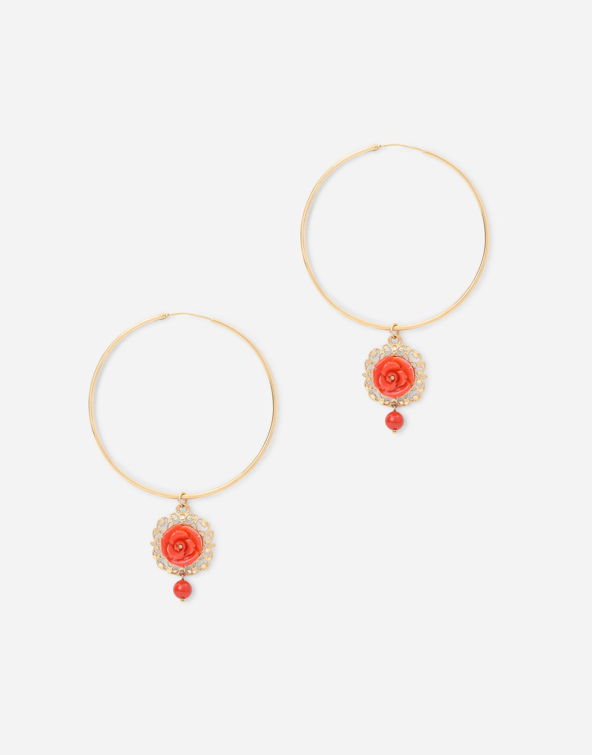 Coral loop earrings in yellow 18kt gold with coral roses