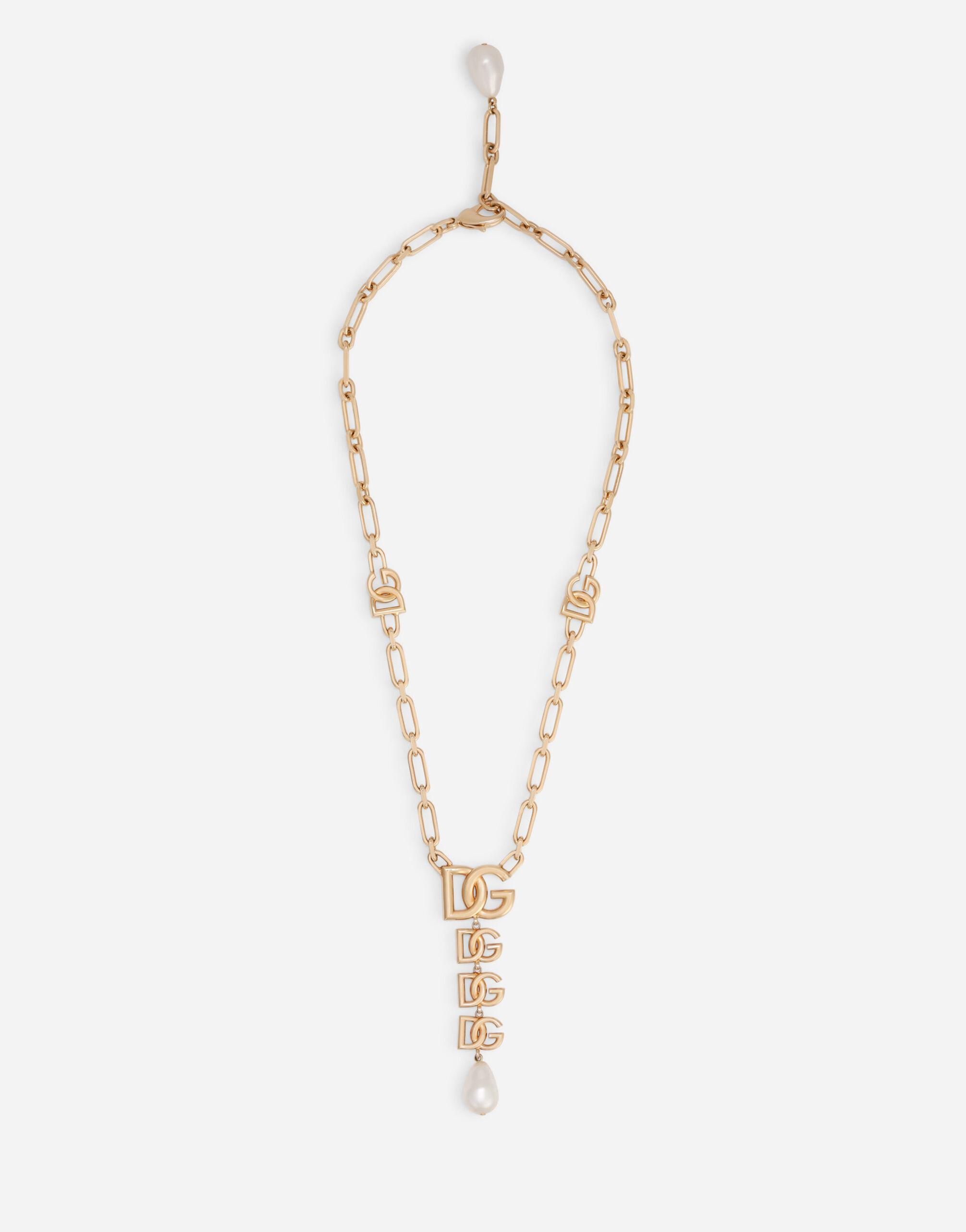 Necklace with DG logo pendant and pearl embellishment