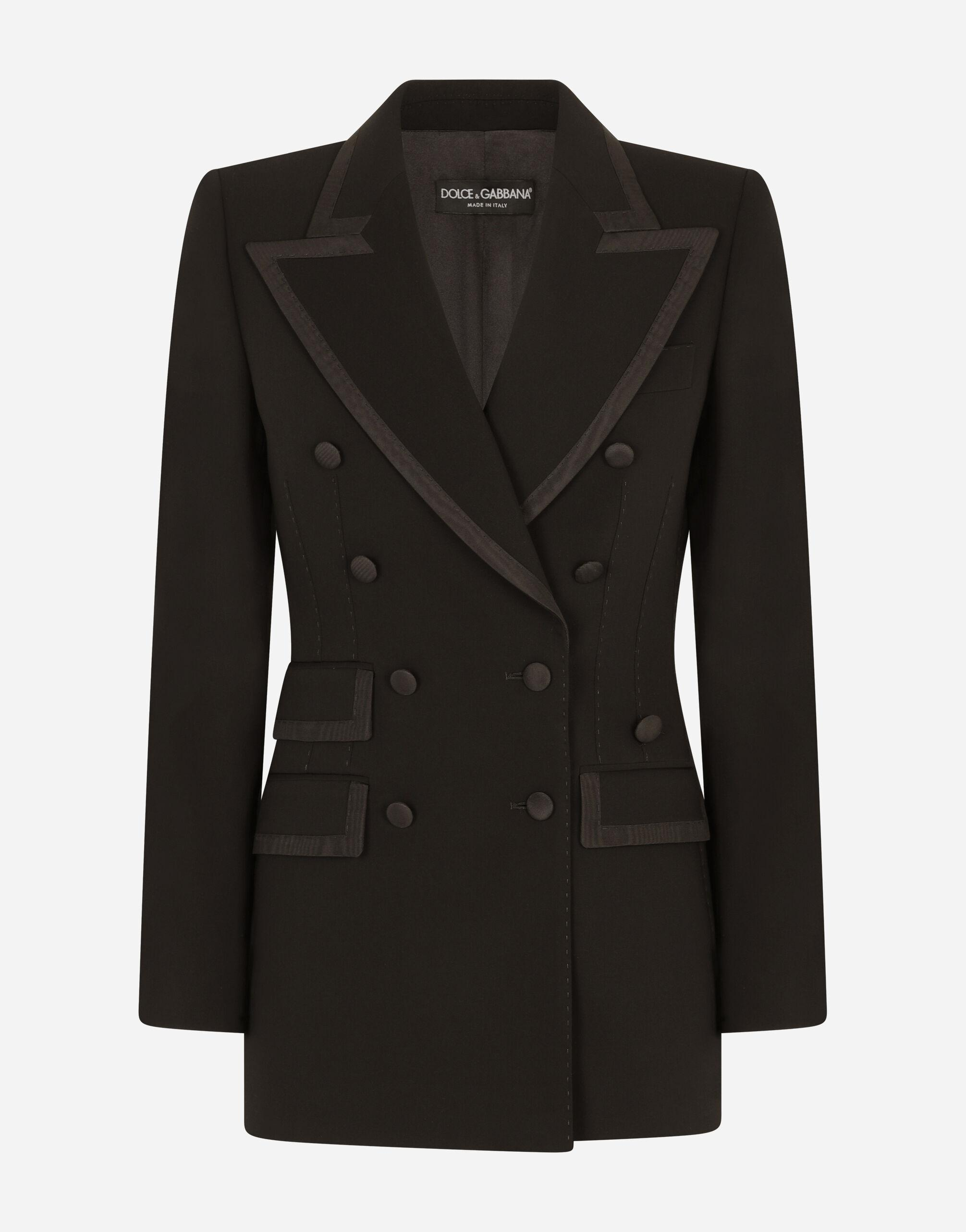 Wool double-breasted Turlington jacket with silk faille piping 3