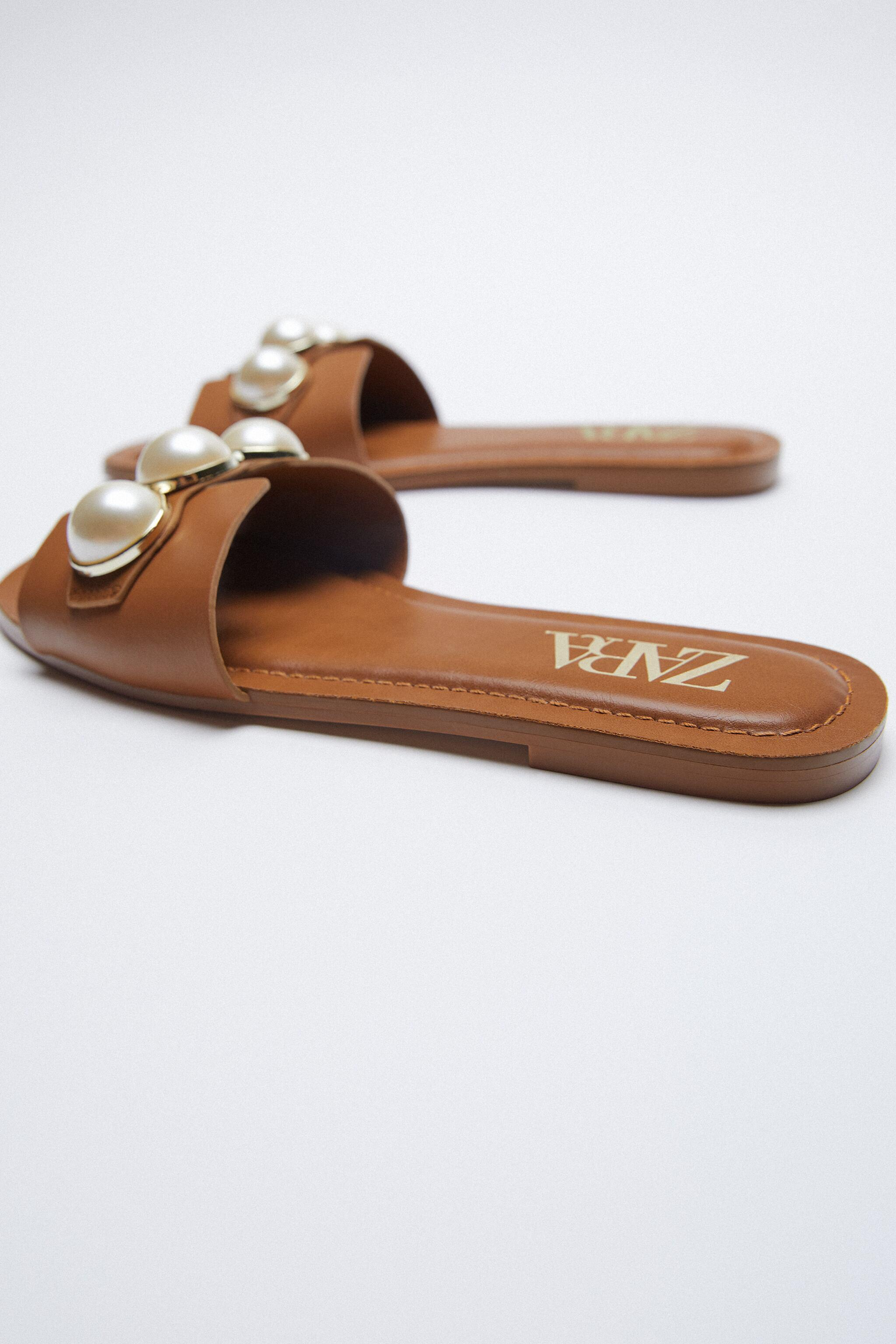 LEATHER SLIDE SANDALS WITH PEARLS 4