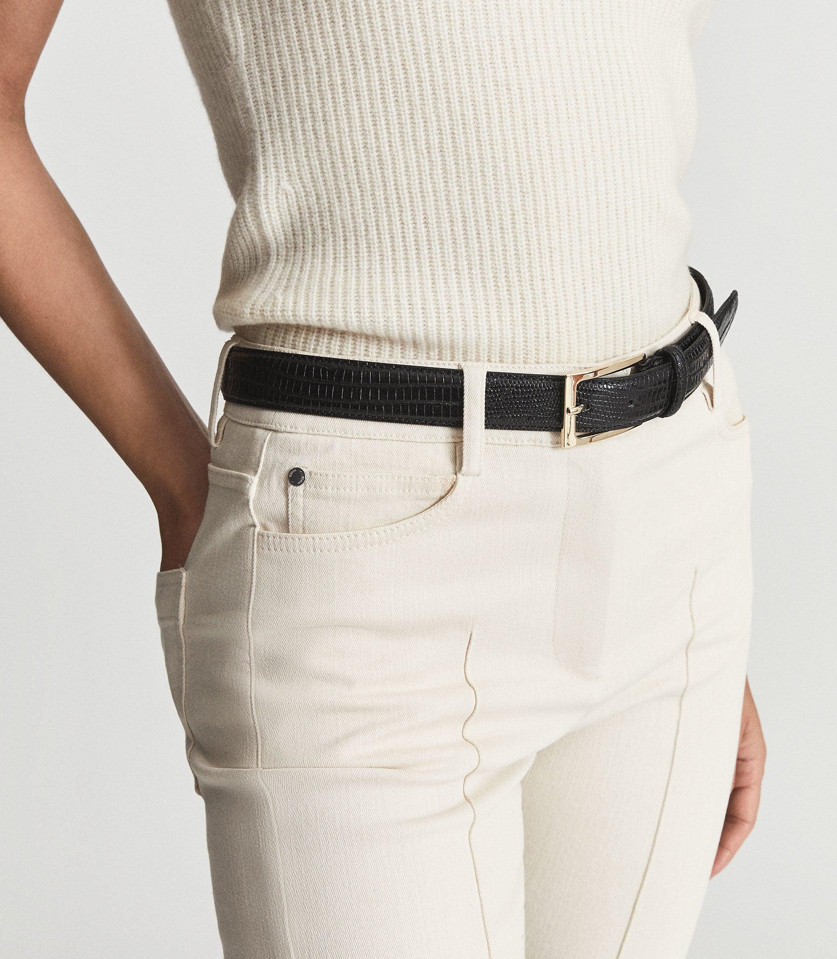 MOLLY - LEATHER CROC EMBOSSED BELT 3
