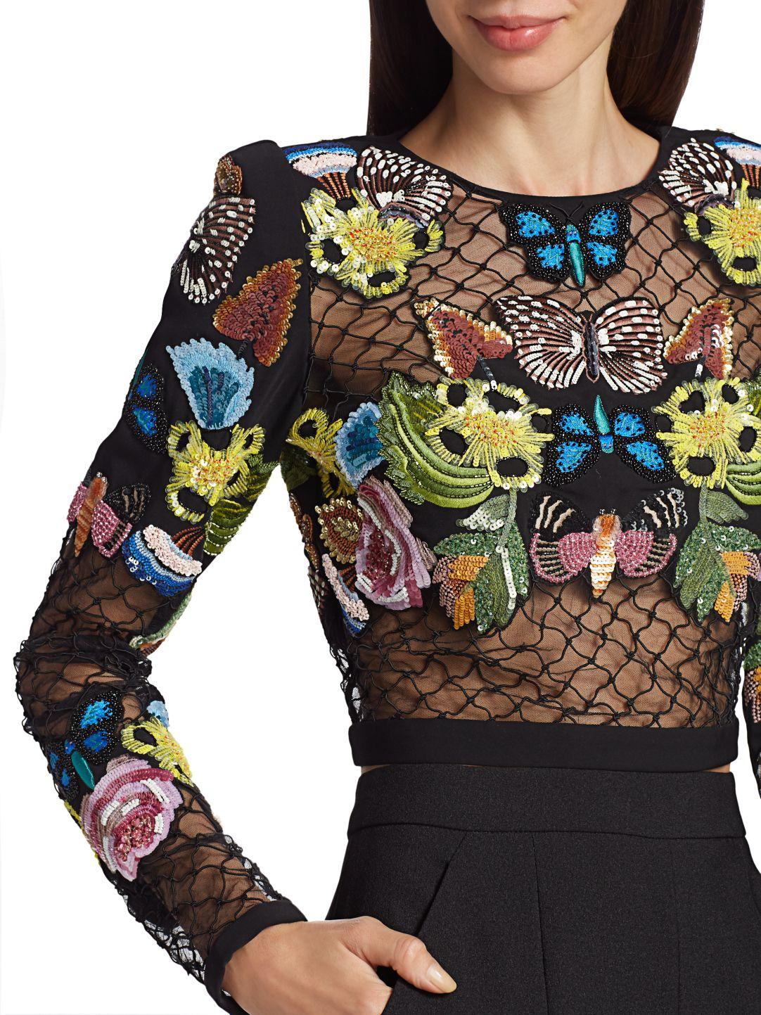HAND EMBROIDERED MESH TOP 5