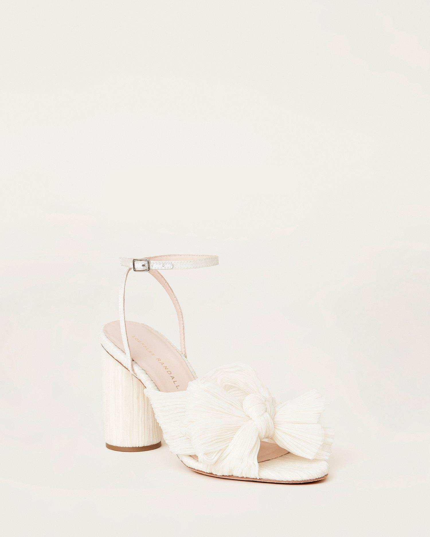 Camellia Bow Heel with Ankle Strap Pearl