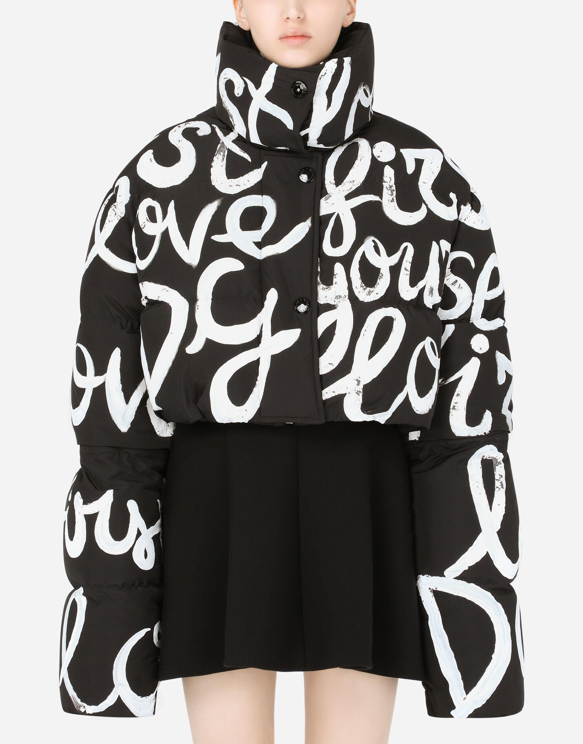 Short nylon down jacket with DG love yourself print