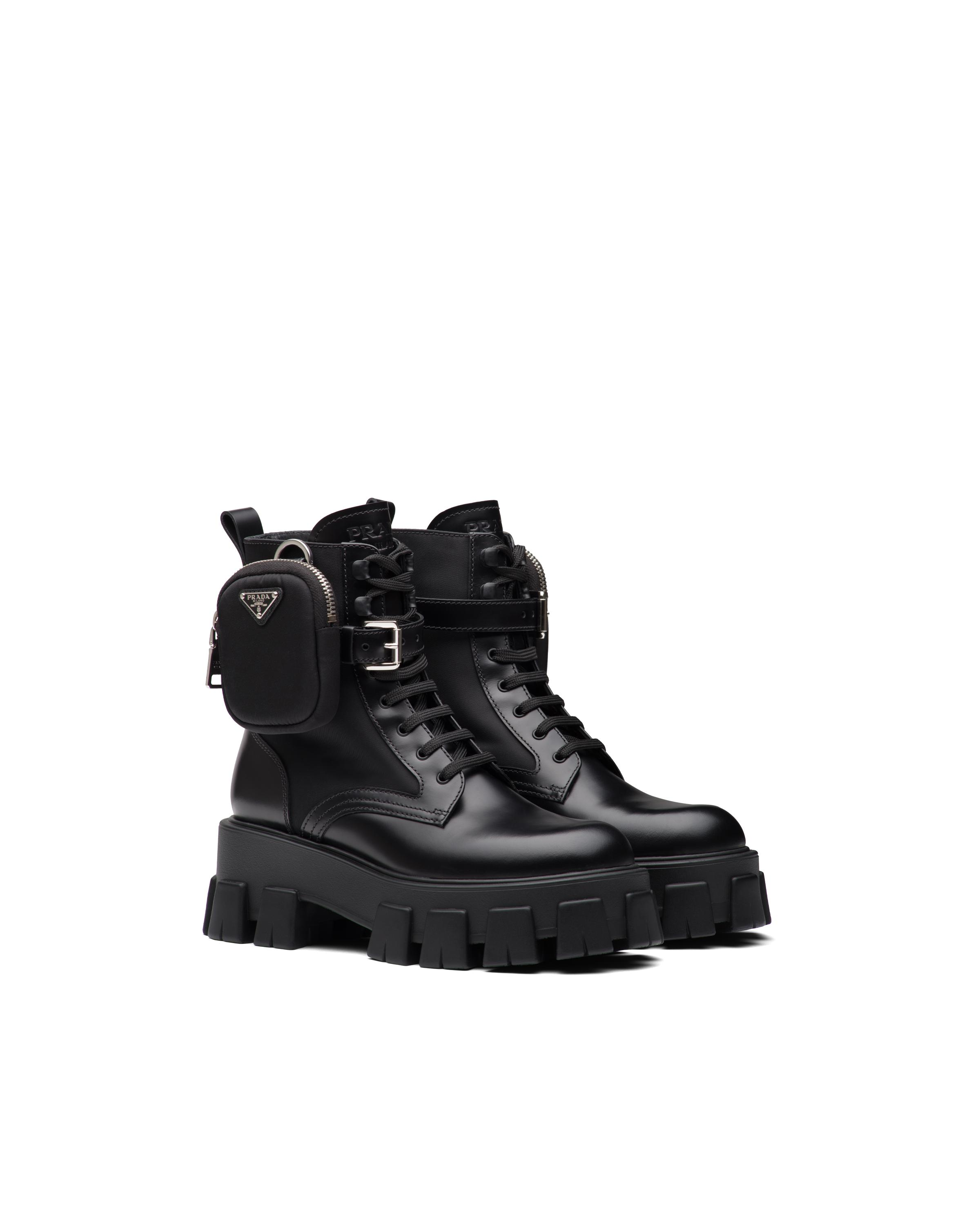 Brushed Rois Leather And Nylon Monolith Boots Women Black 5