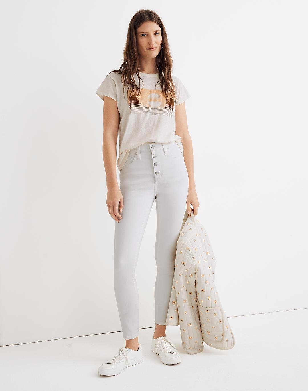 """10"""" High-Rise Skinny Crop Jeans in Pure White: Button-Front Edition"""