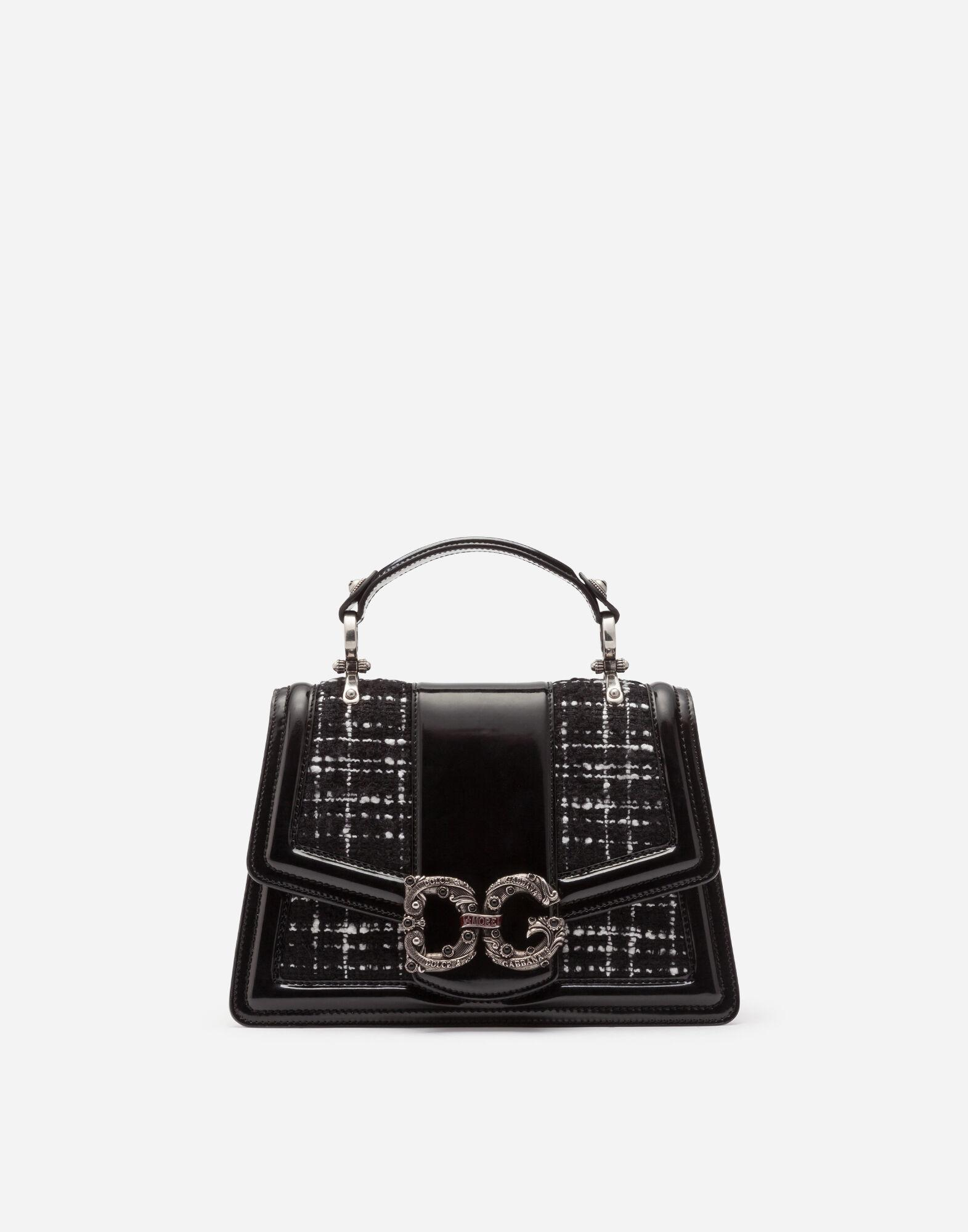 DG Amore bag in polished calfskin and tweed