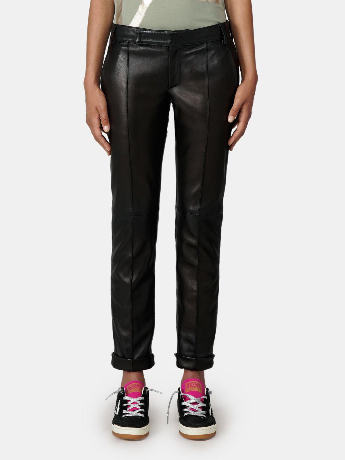 Black Agathe trousers in nappa leather