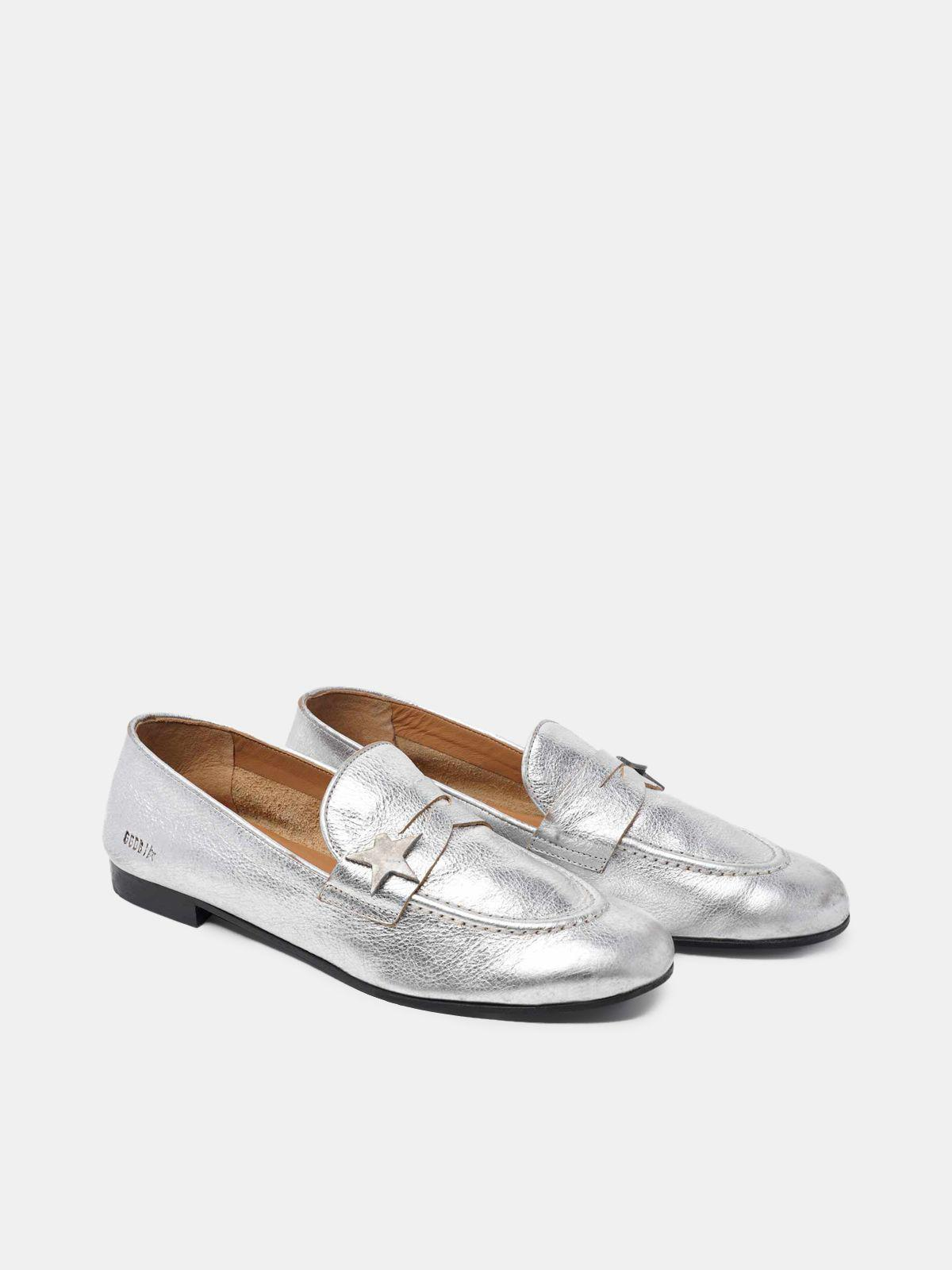 Virginia loafers in silver leather 2