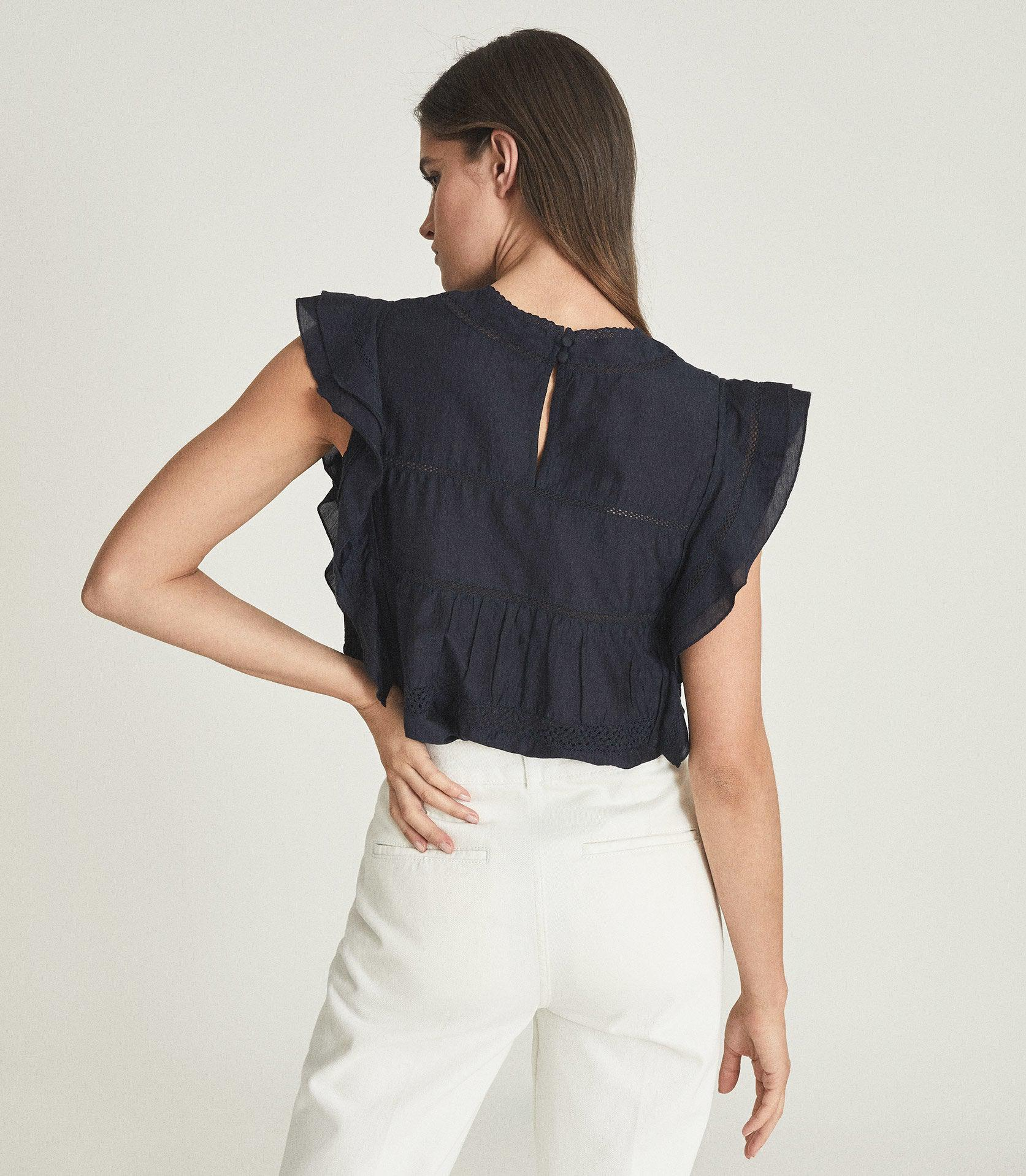 SIMONE - LACE DETAILED CAP SLEEVE TOP 3