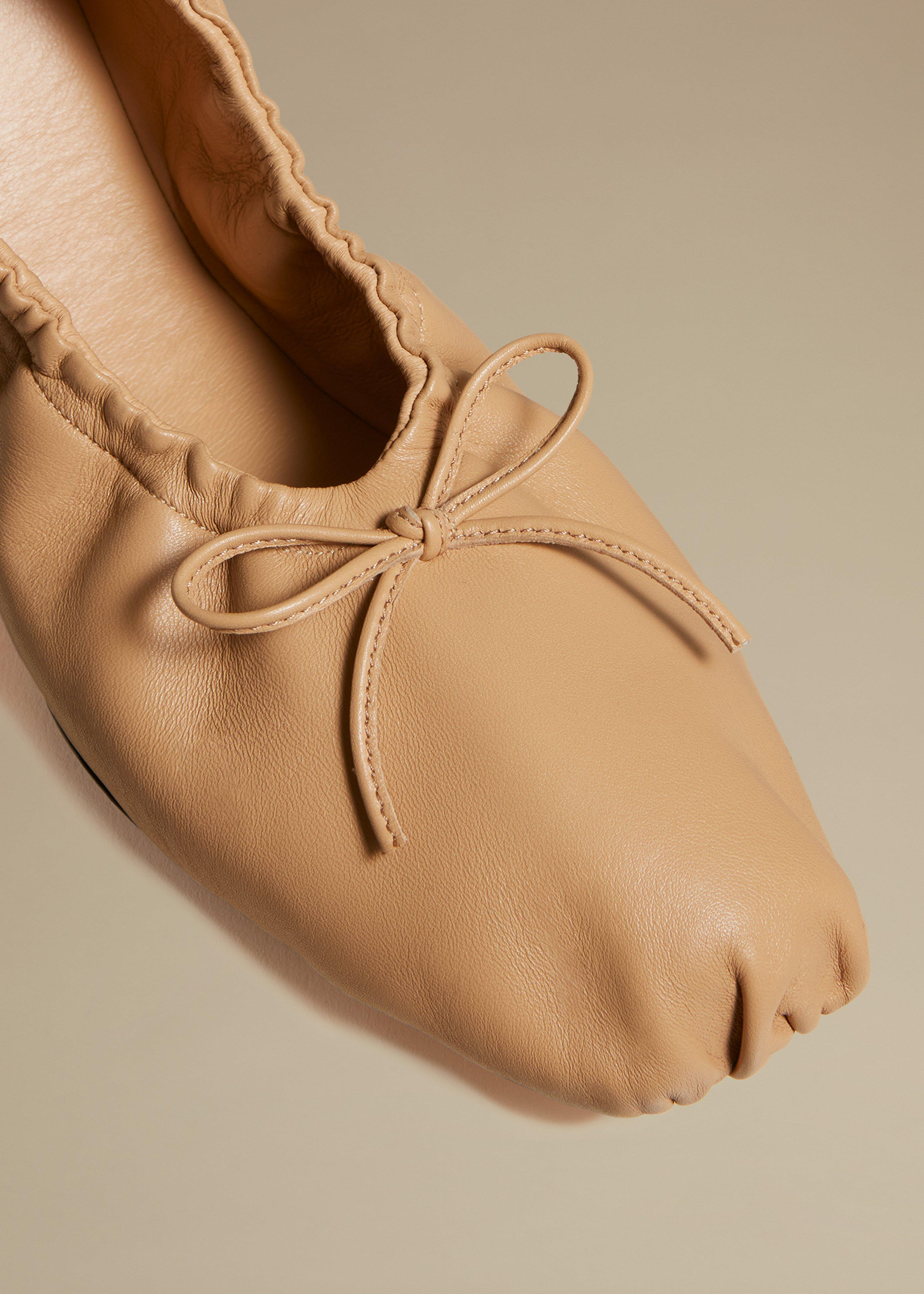 The Ashland Ballet Flat in Tan Leather 2