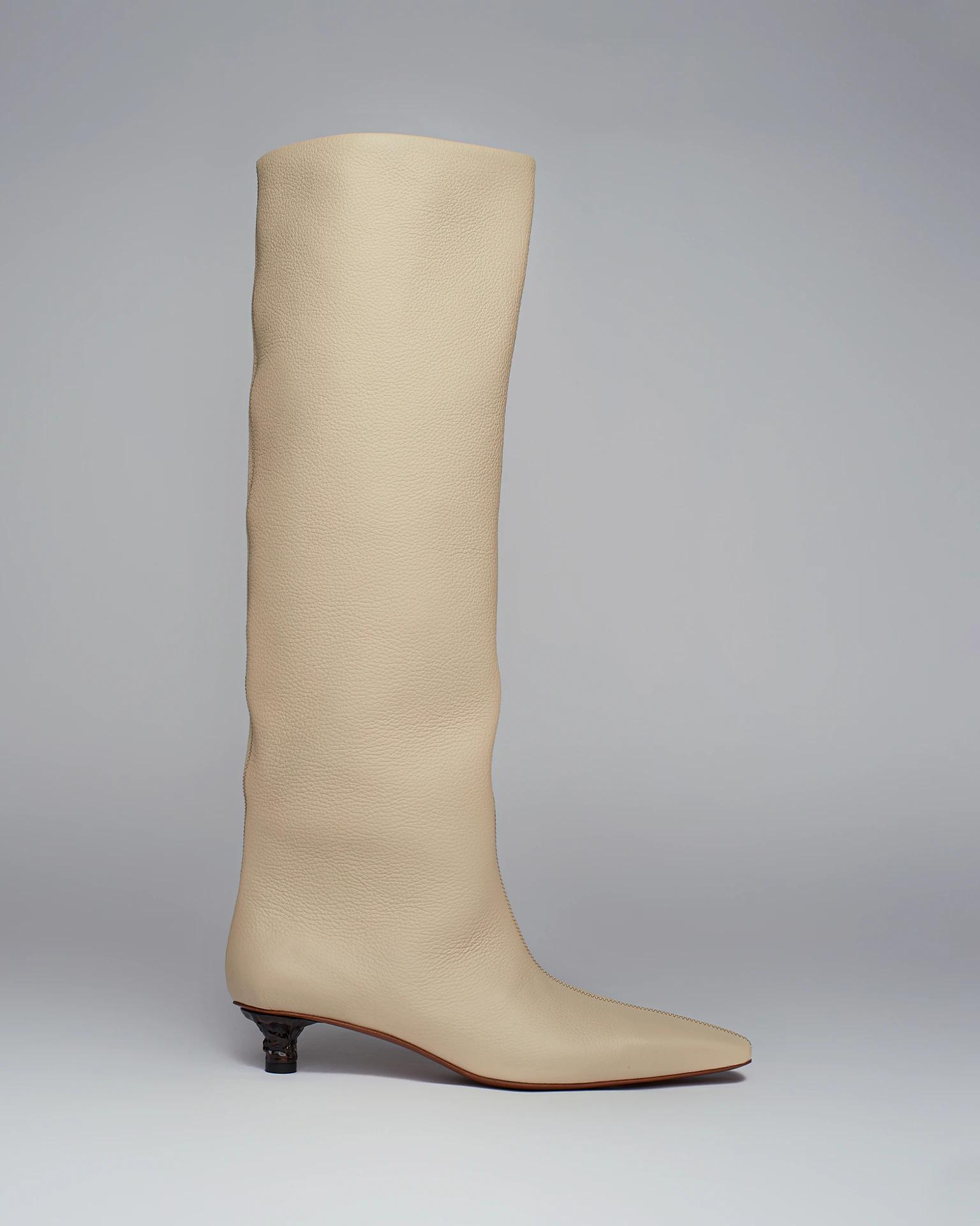 PIPPA - Textured-leather knee boots - Cream