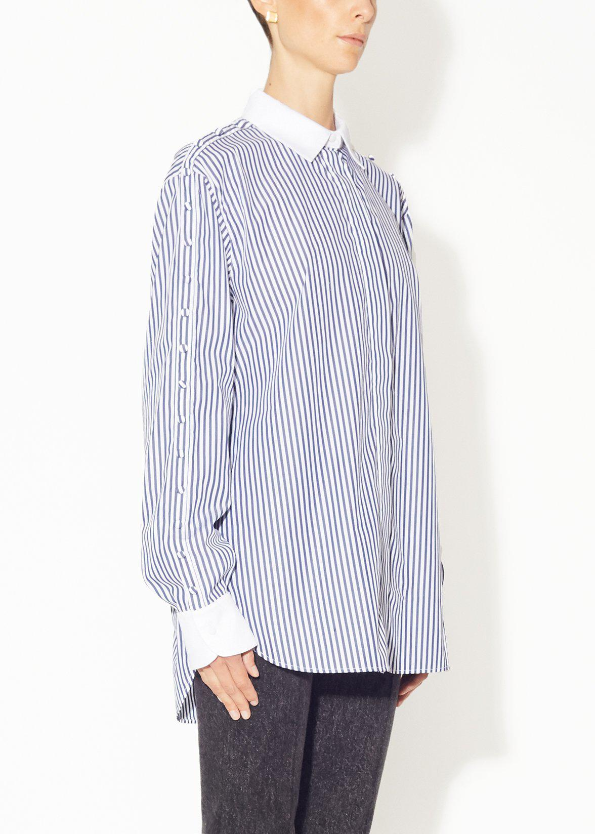 BUTTON SLEEVE SHIRT IN STRIPED SHIRTING