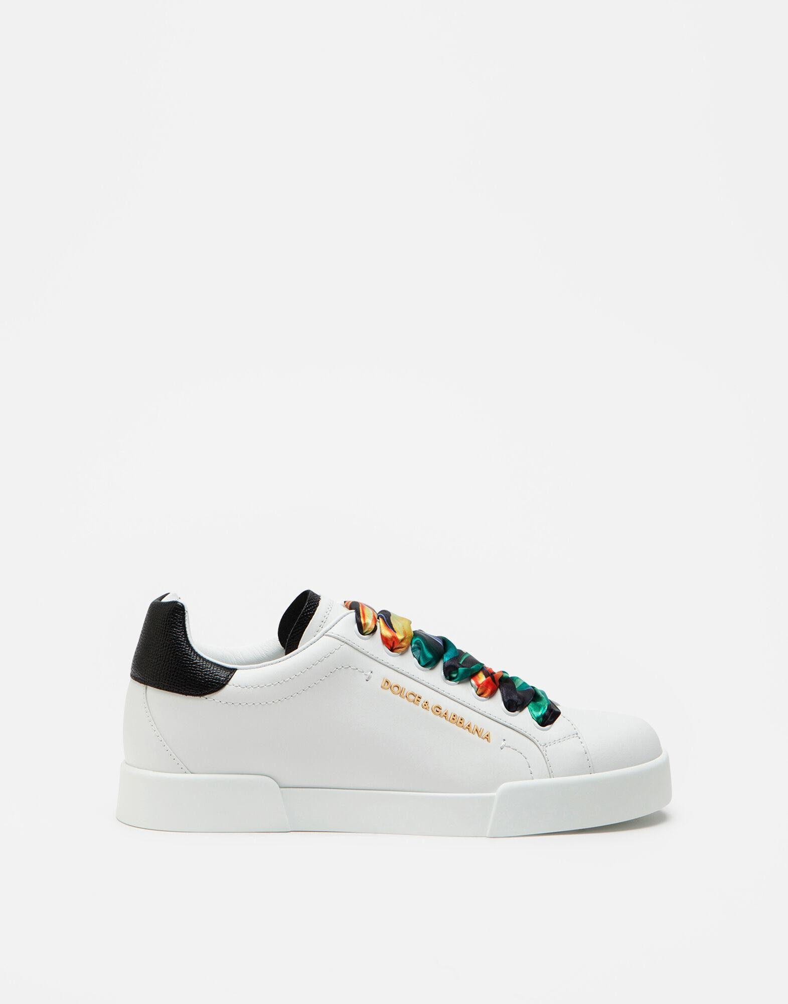 Calfskin nappa Portofino sneakers with lettering and printed silk laces