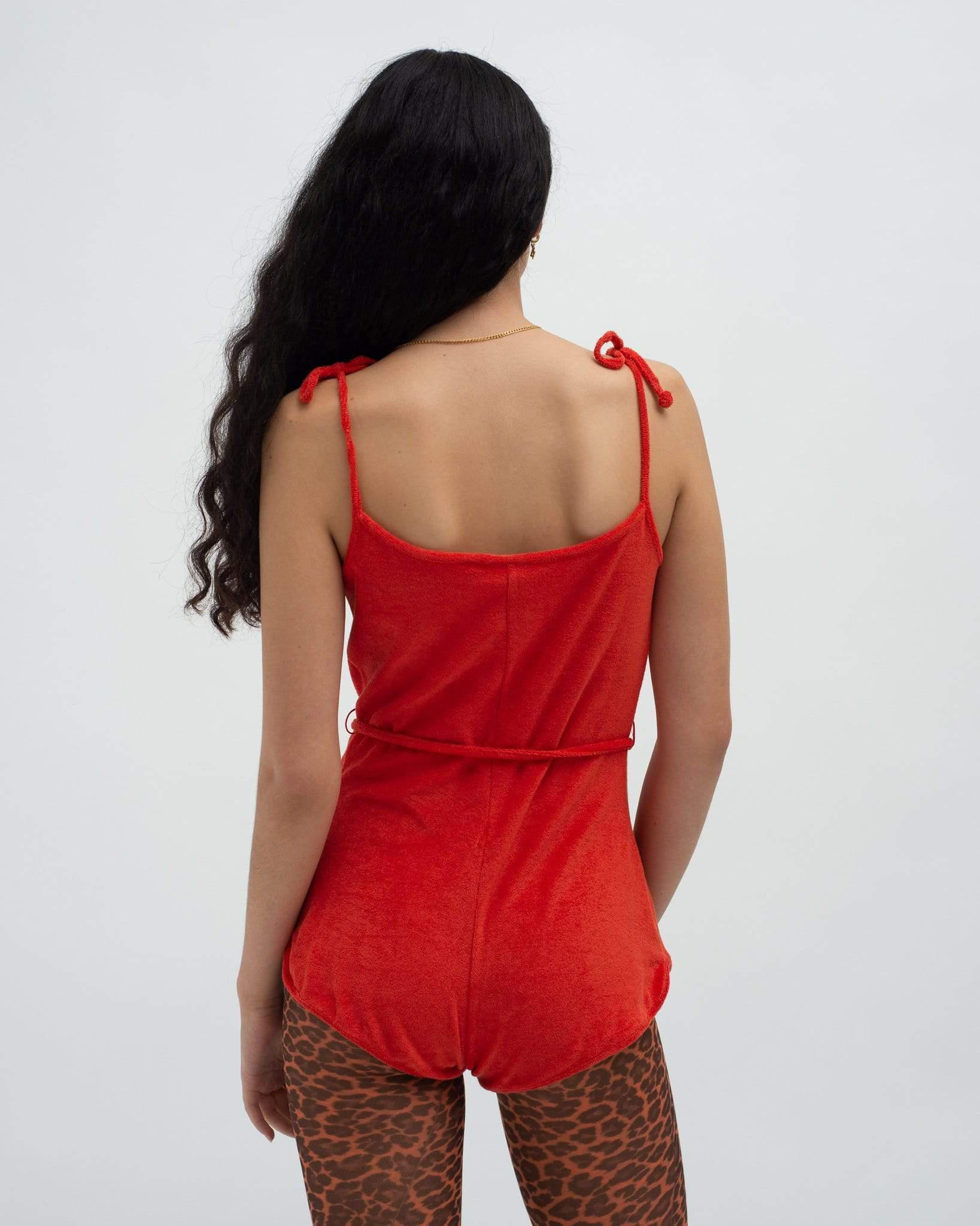 Towelling playsuit Red 1