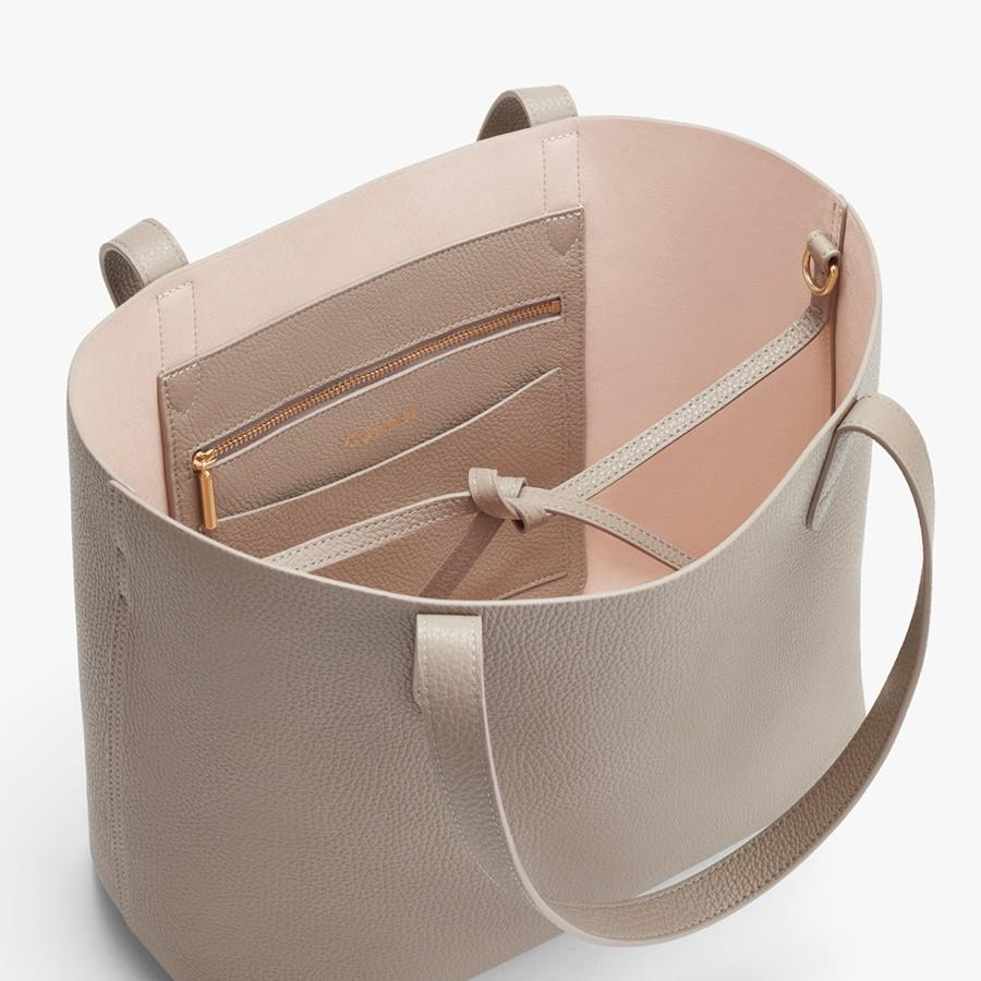 Women's Small Structured Leather Tote Bag in Stone/Blush Pink   Pebbled Leather by Cuyana 2