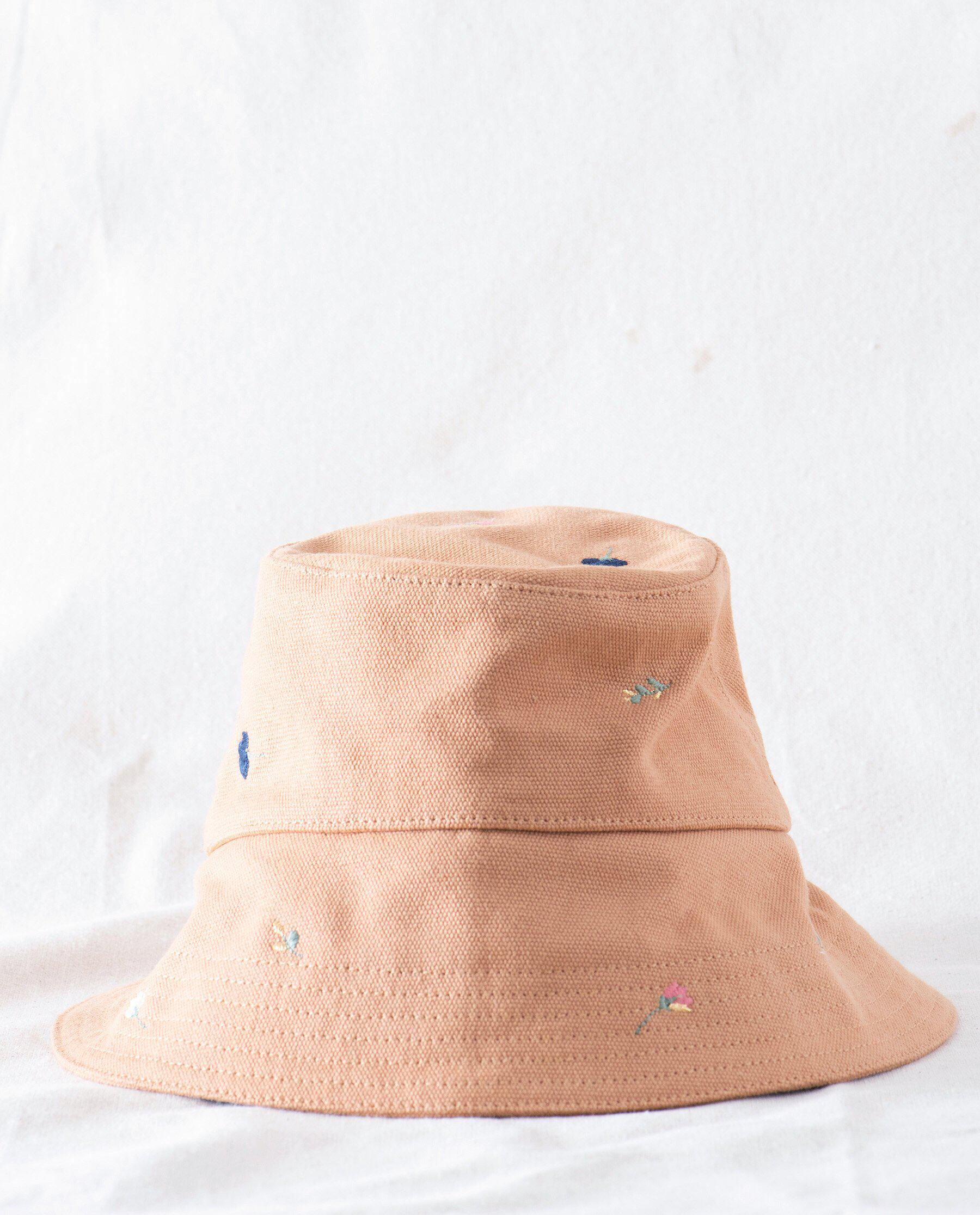 The Bucket Hat. -- Camel with Tossed Floral Embroidery 1