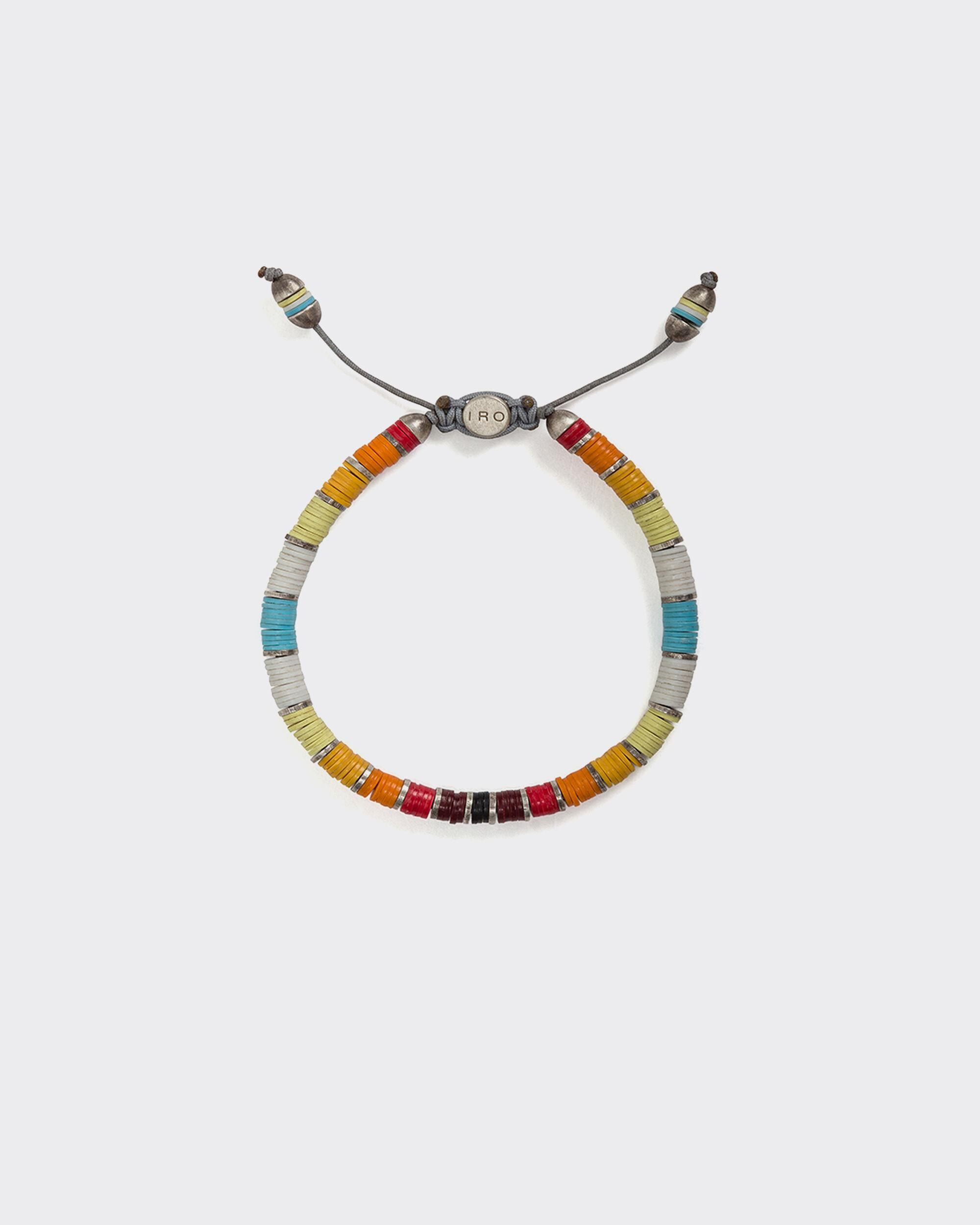 RUBIS SILVER AND AFRICAN VINYL DISC BRACELET