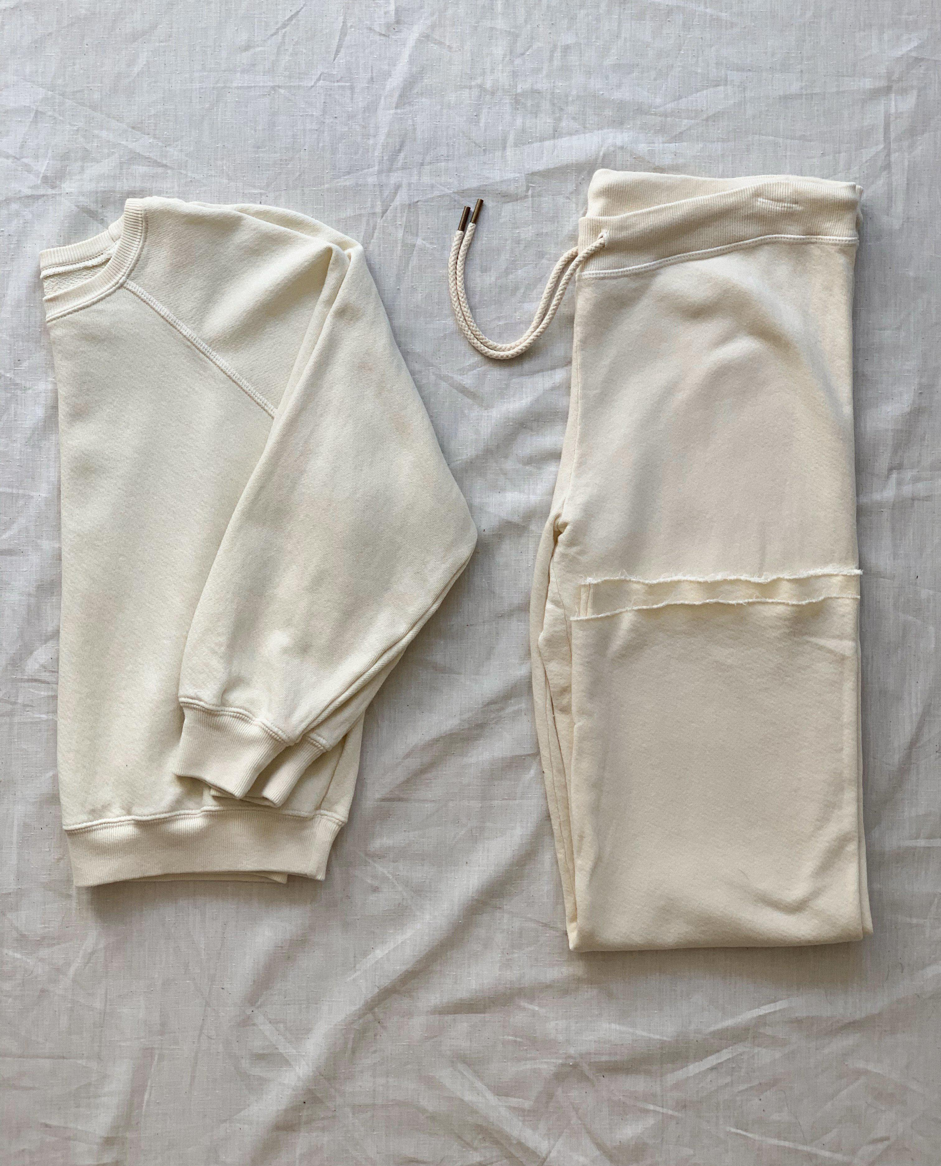 The Shrunken Sweatshirt and The Wide Leg Cropped Sweatpant Set. -- Washed White 3