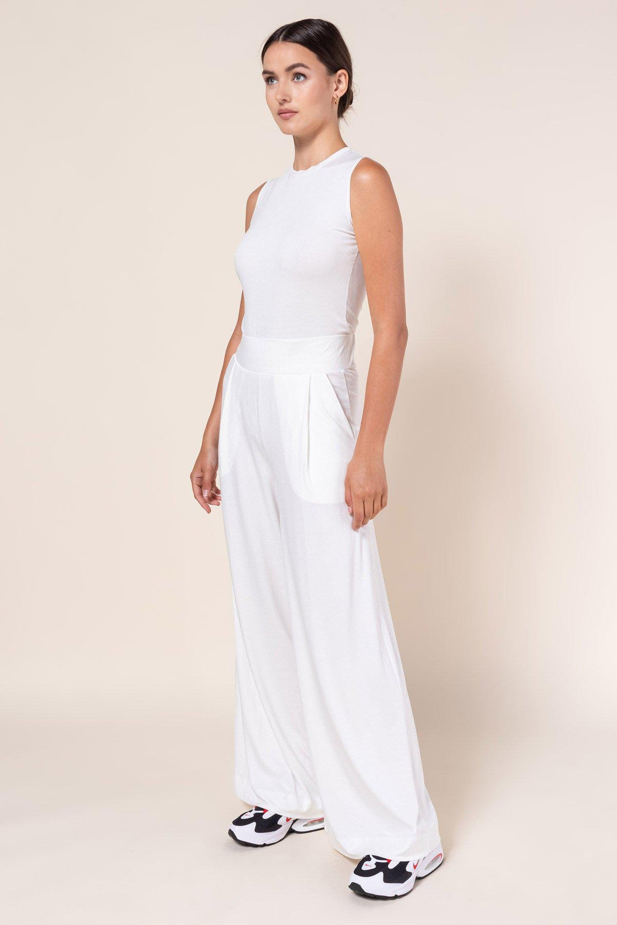 Dylan Baggy High Waist Pant - White 1