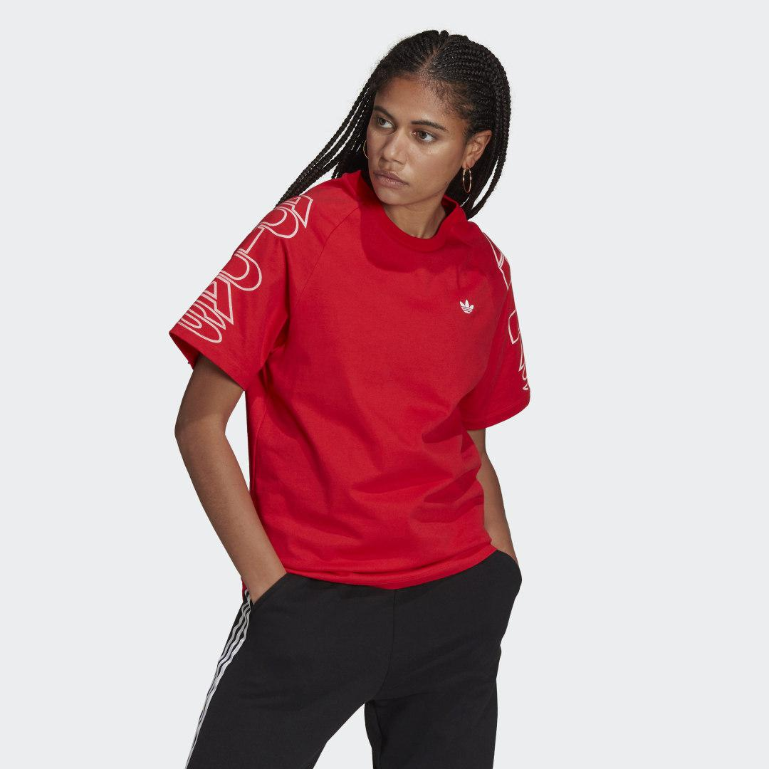 Loose adidas Letter Tee Red