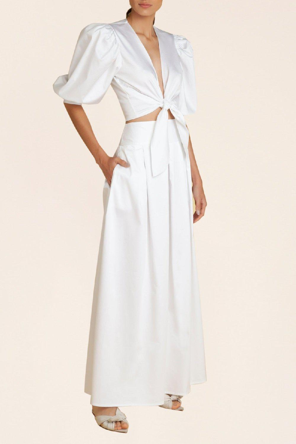 Solid Pleated Long Skirt