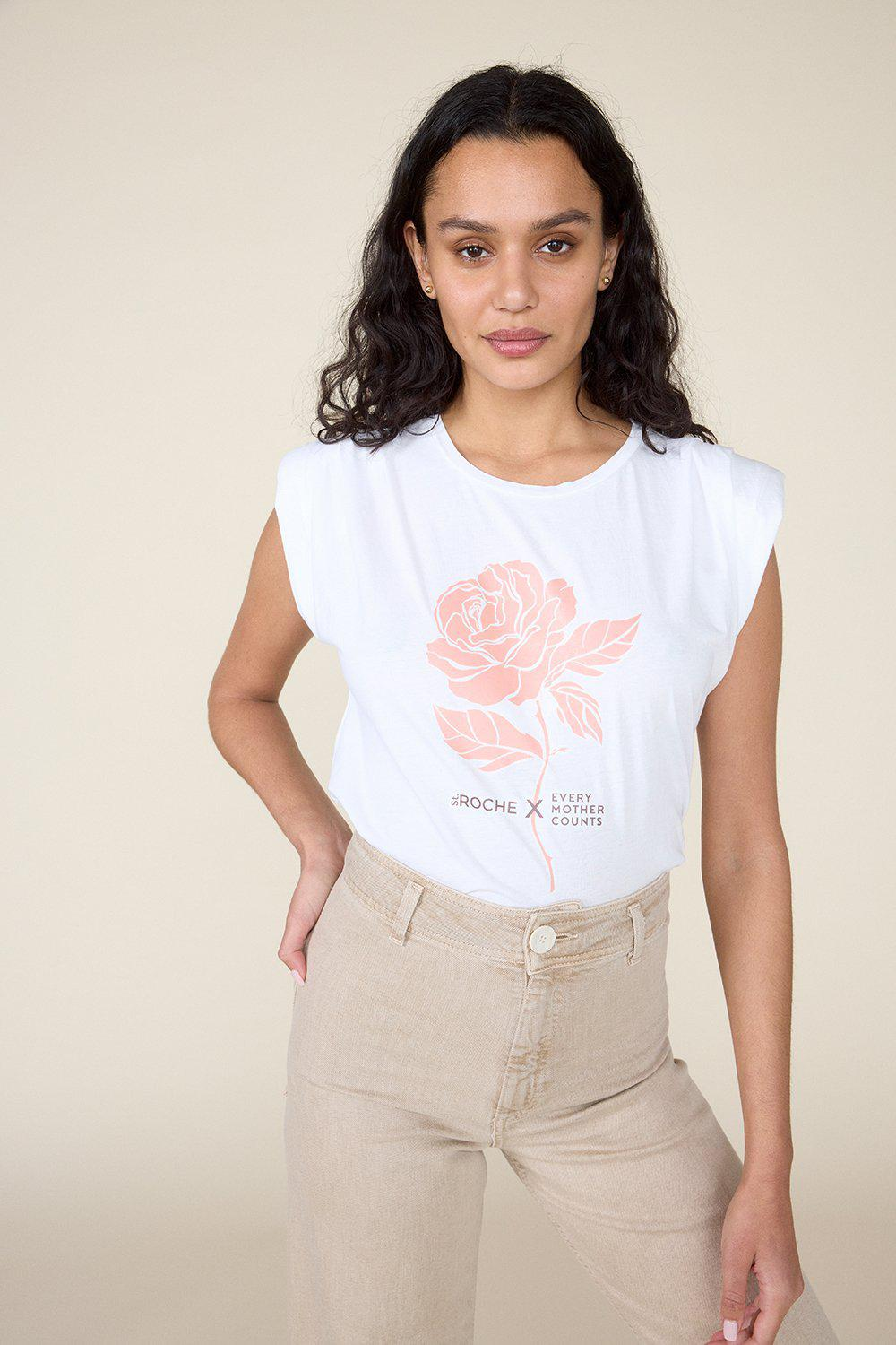 ST.ROCHE  X EVERY MOTHER COUNTS, ROSE PADDED SHOULDER TEE - WHITE
