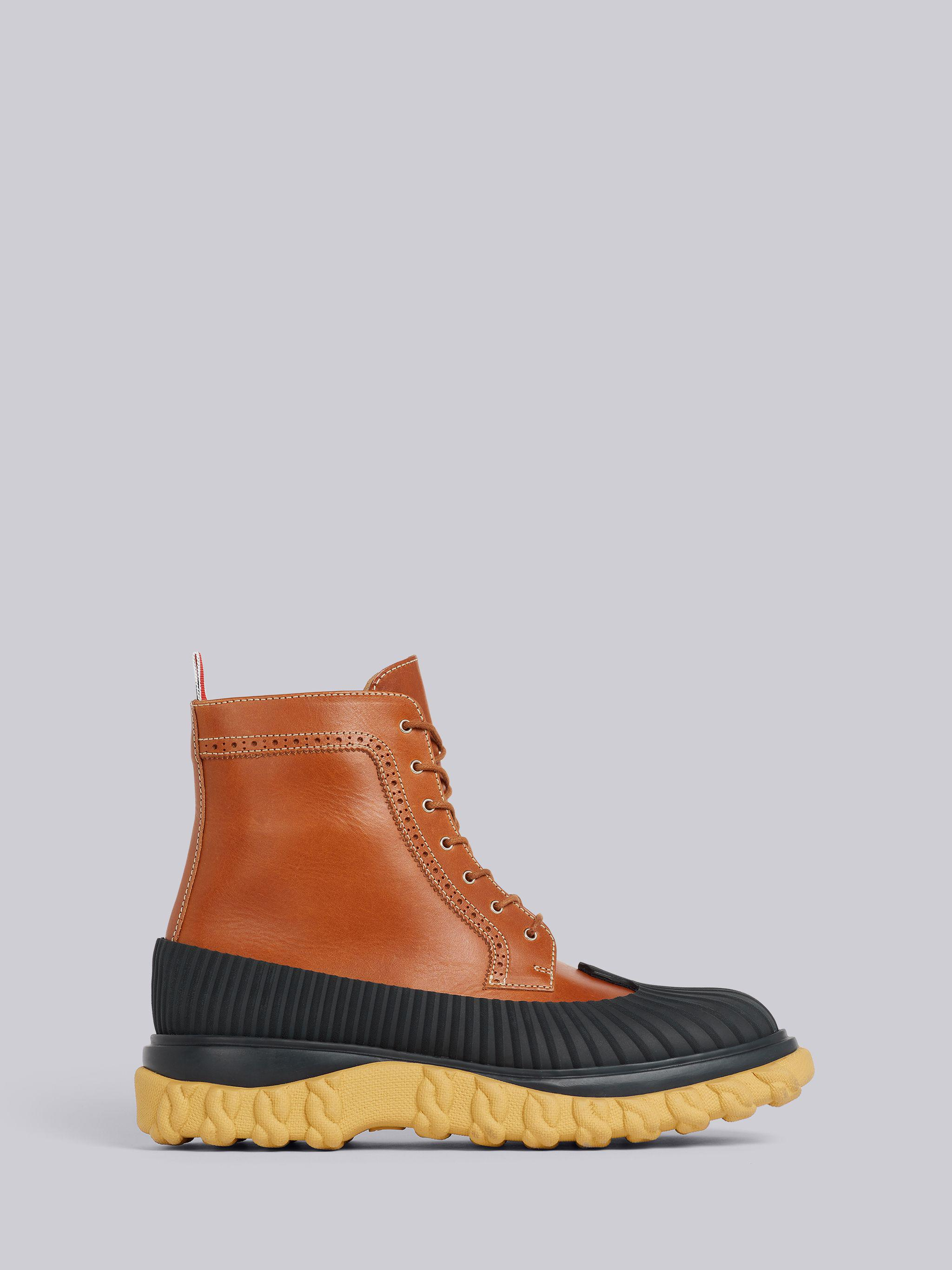 Camel Calf Leather Rubber Sole Longwing Duck Boot