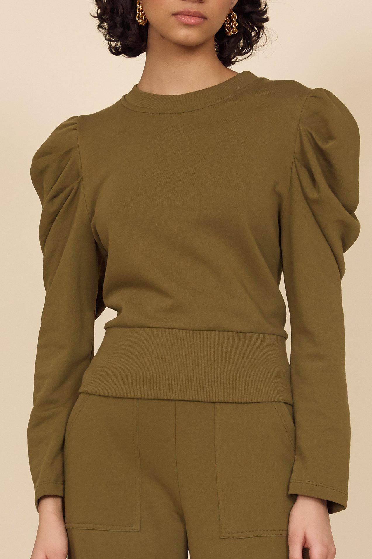 The Just Enough Puff Sweatshirt in Olive