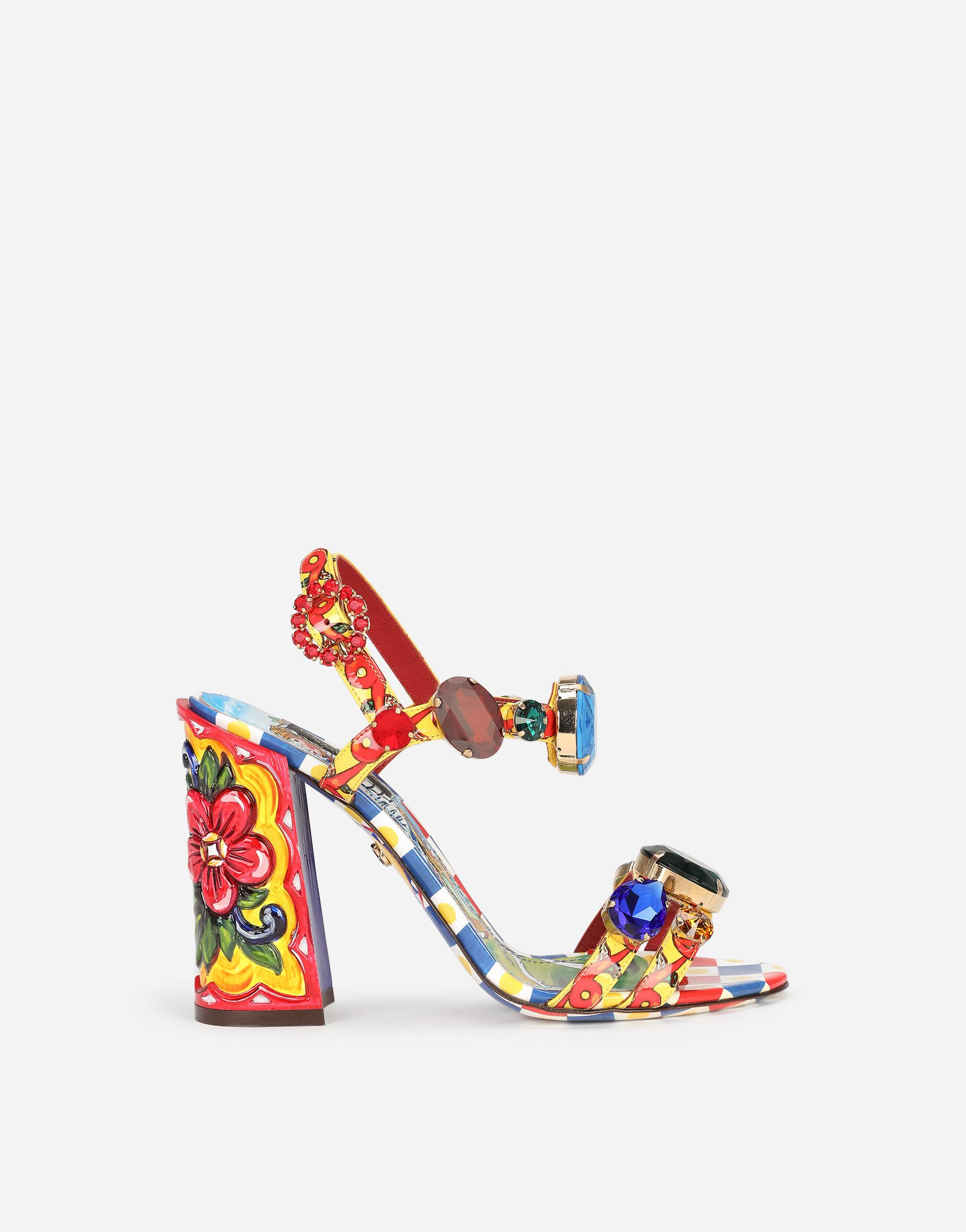 Carretto-print patent leather sandals with bejeweled appliqué