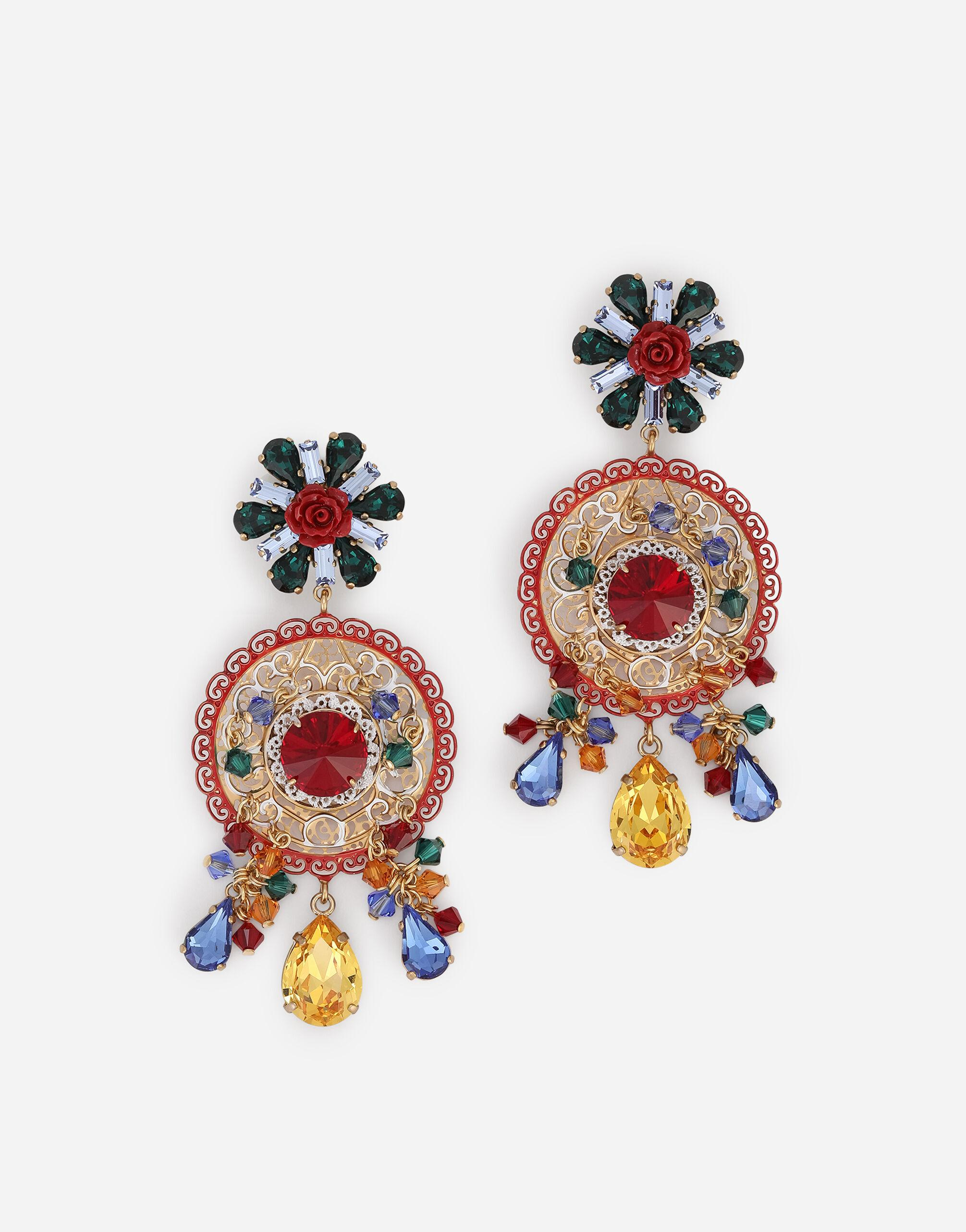 Earrings with rhinestones and decorative accents