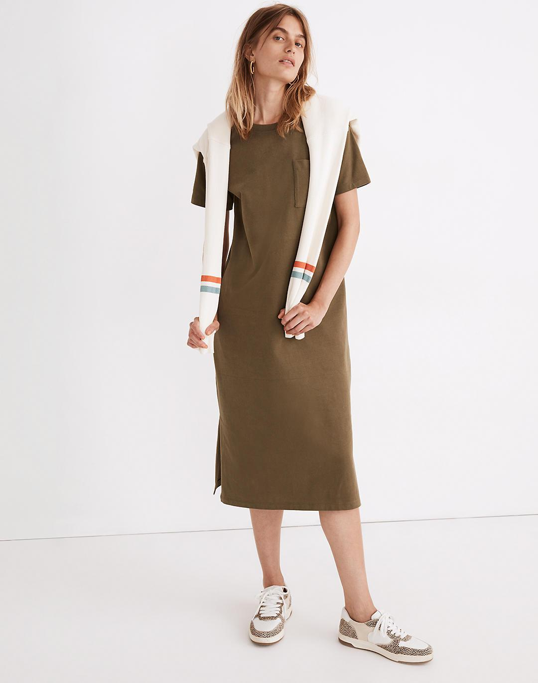 Oversized Pocket Tee Dress in Sueded Cotton