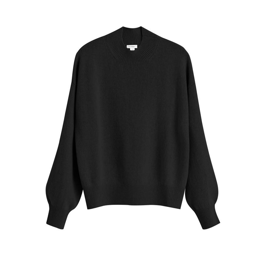 Women's Recycled Mock Neck Sweater in Black | Size: