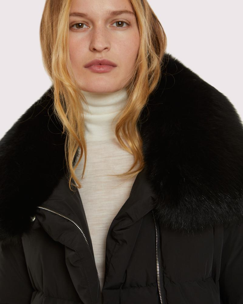 belted down jacket with fox collar 4