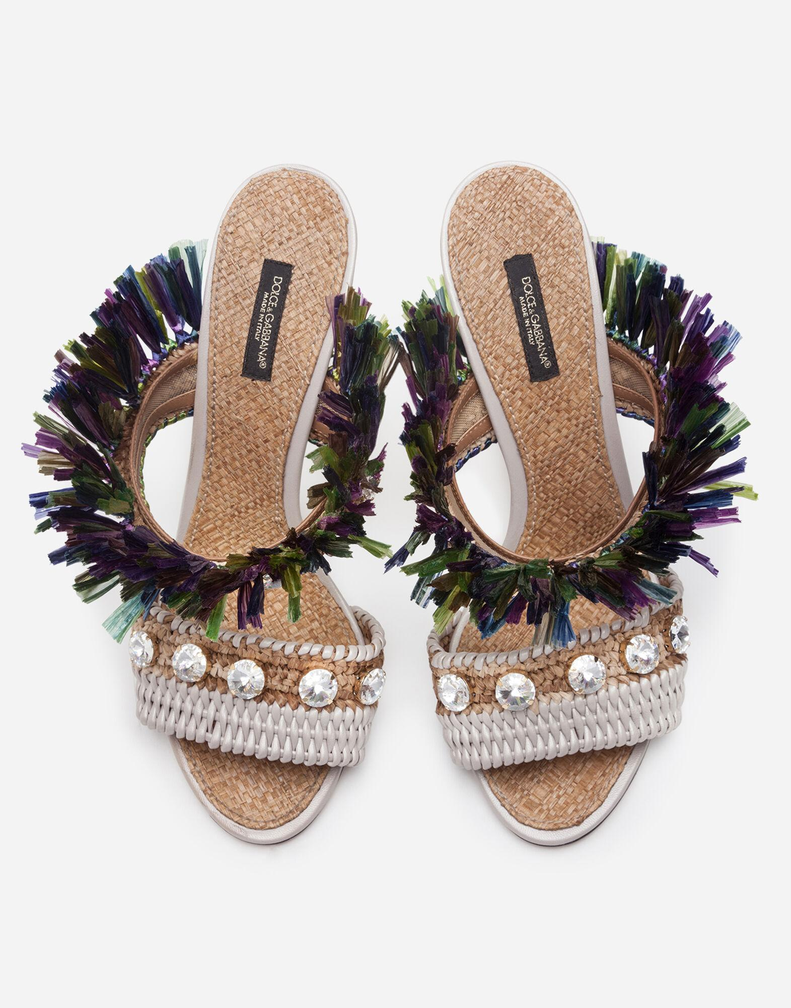 Mules in straw with bejeweled embroidery 3