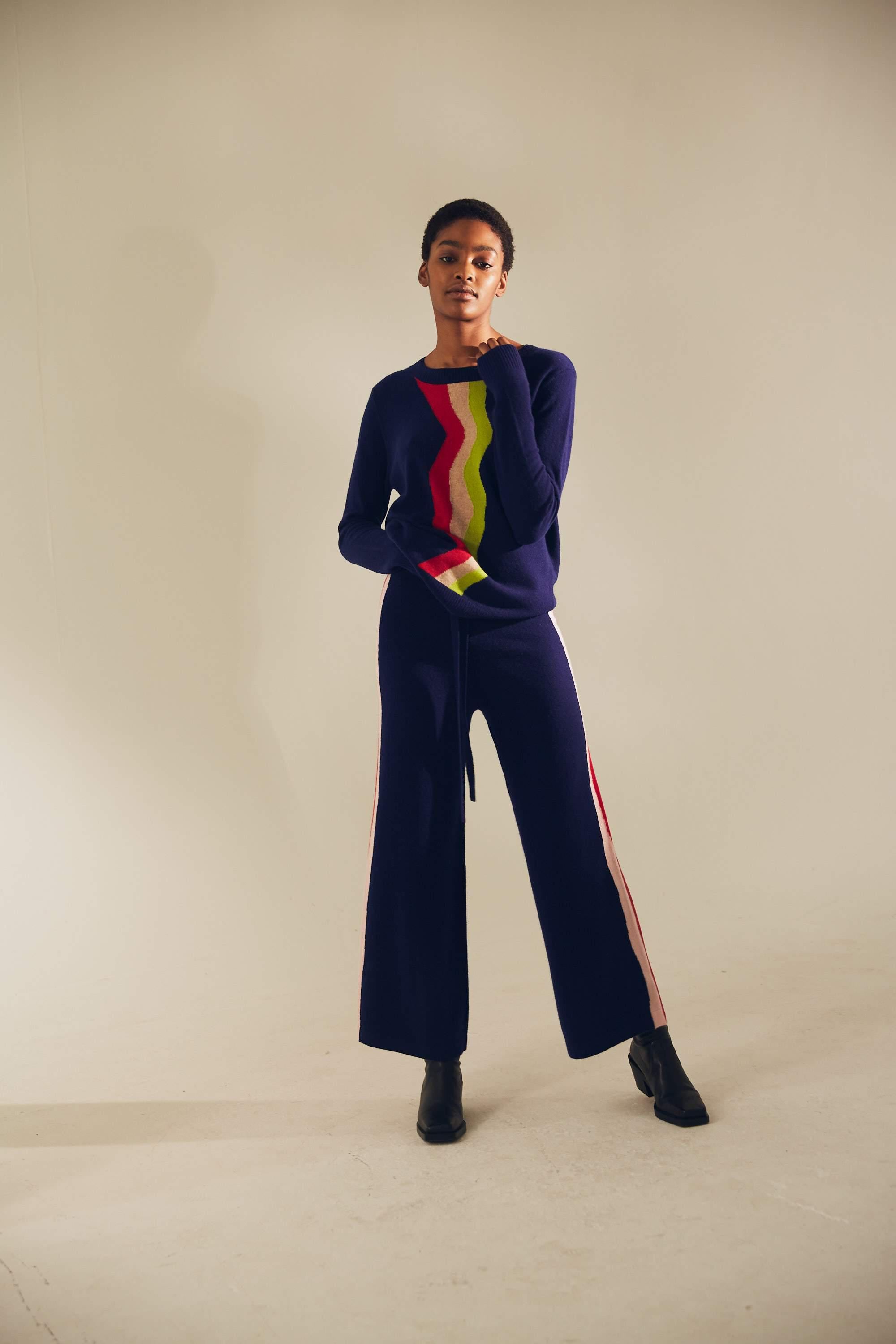 Wavy Knit Wide Track Pant
