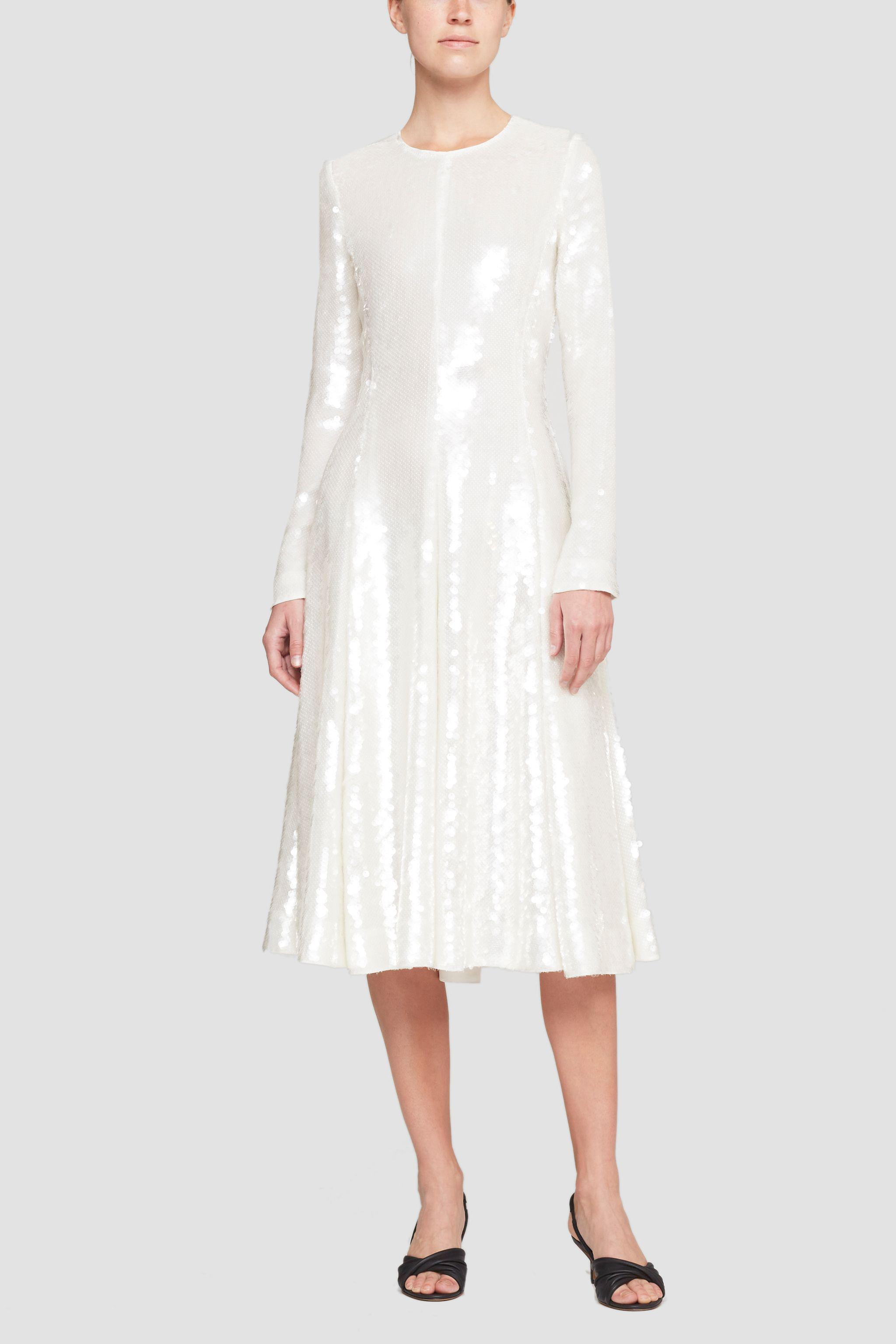 Long Sleeve Sequined Flare Dress