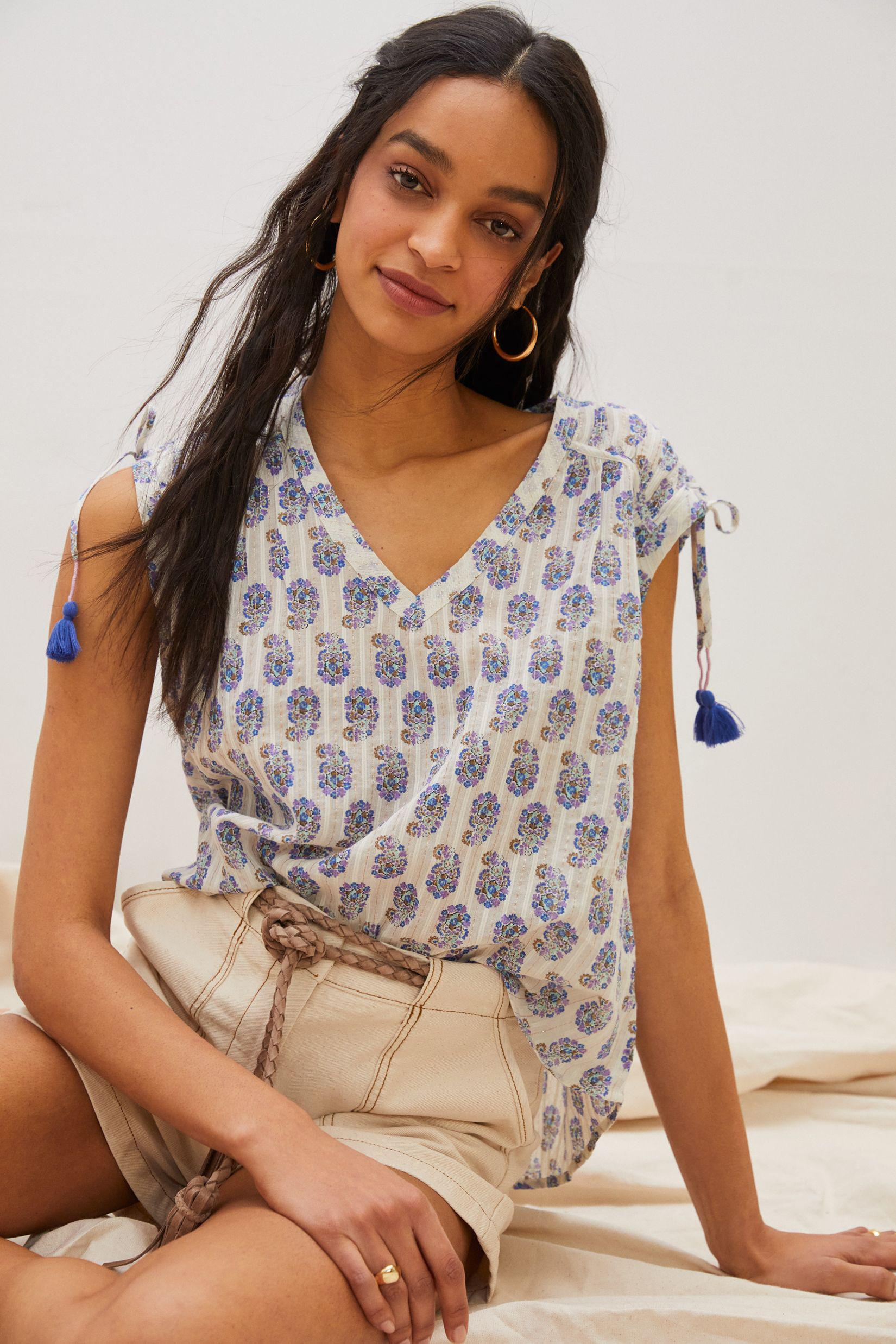 Shirred Cap-Sleeved Blouse