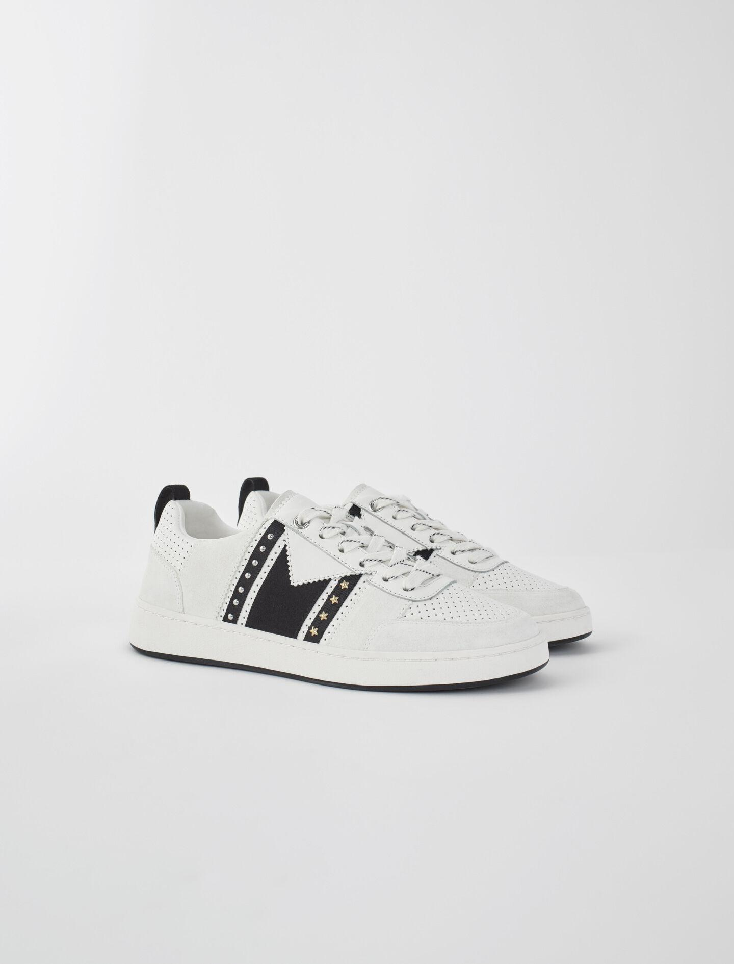BLACK AND WHITE LEATHER SNEAKERS 2
