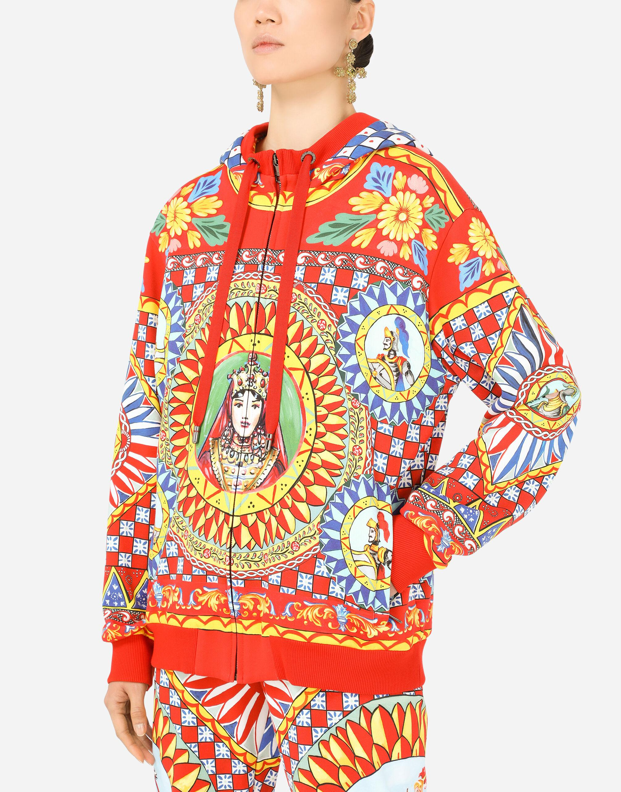 Jersey hoodie with Carretto print 2