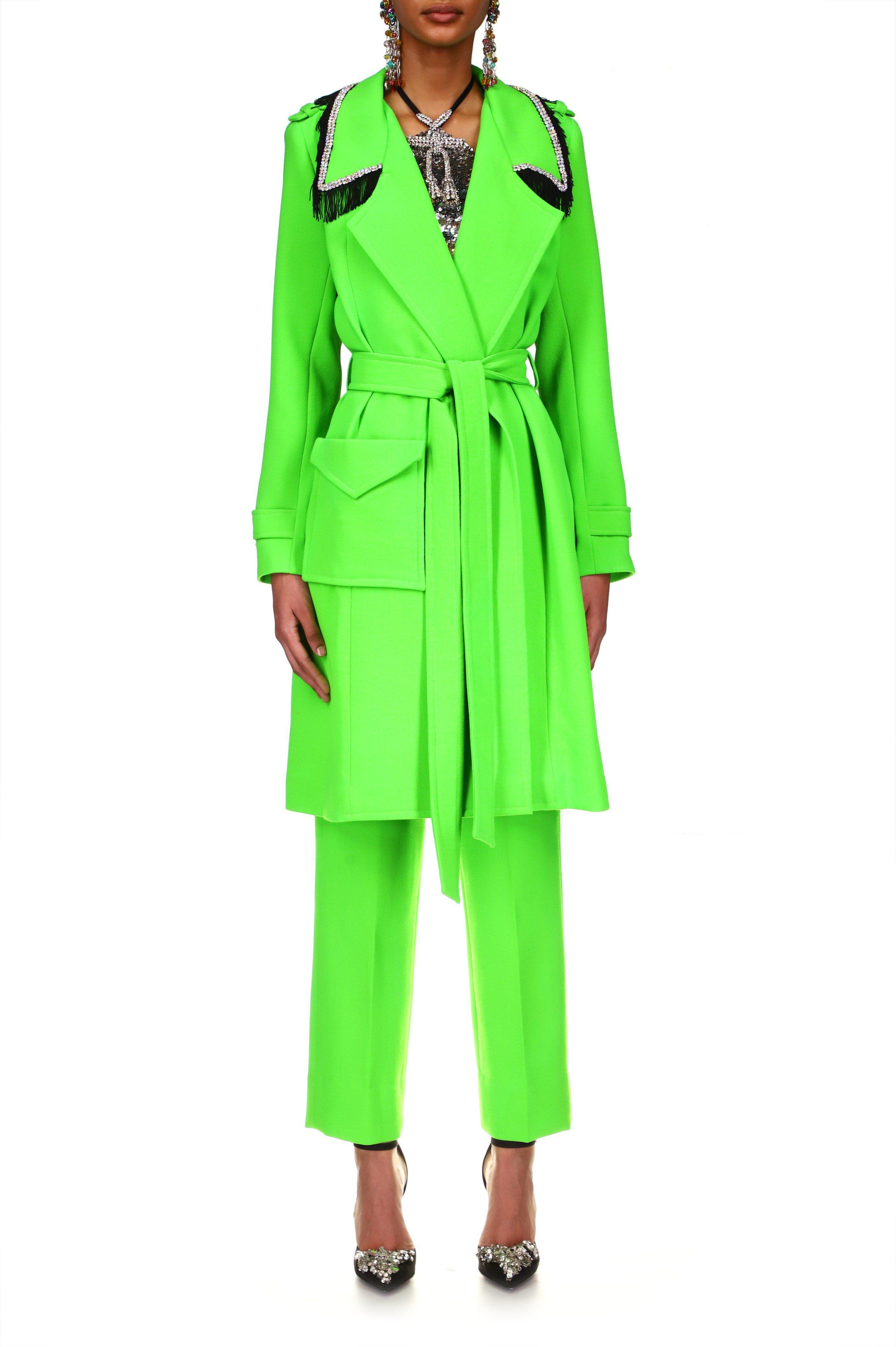 NEON GREEN WOOL TRENCH COAT WITH RHINESTONE AND FRINGE DETAIL