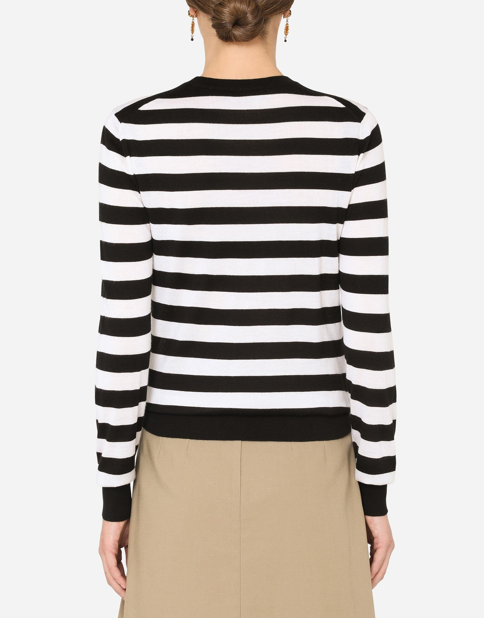 Striped crew-neck sweater in silk and cashmere with logo detail 1