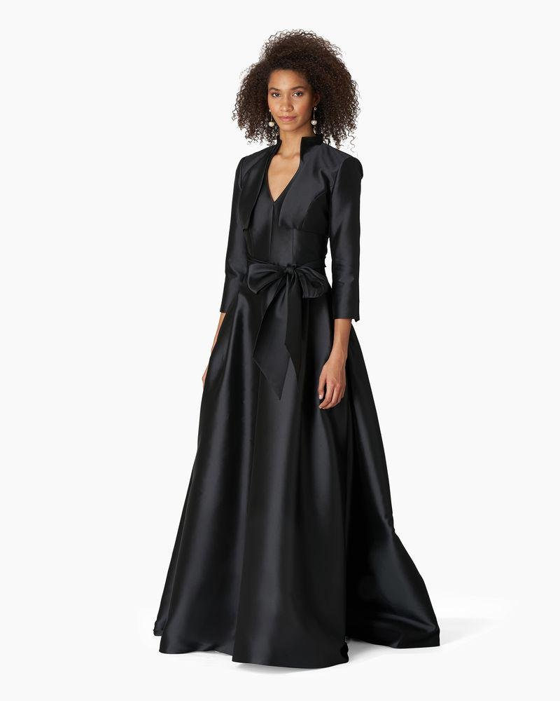 V-neck Gown With Stand Collar And Self Belt